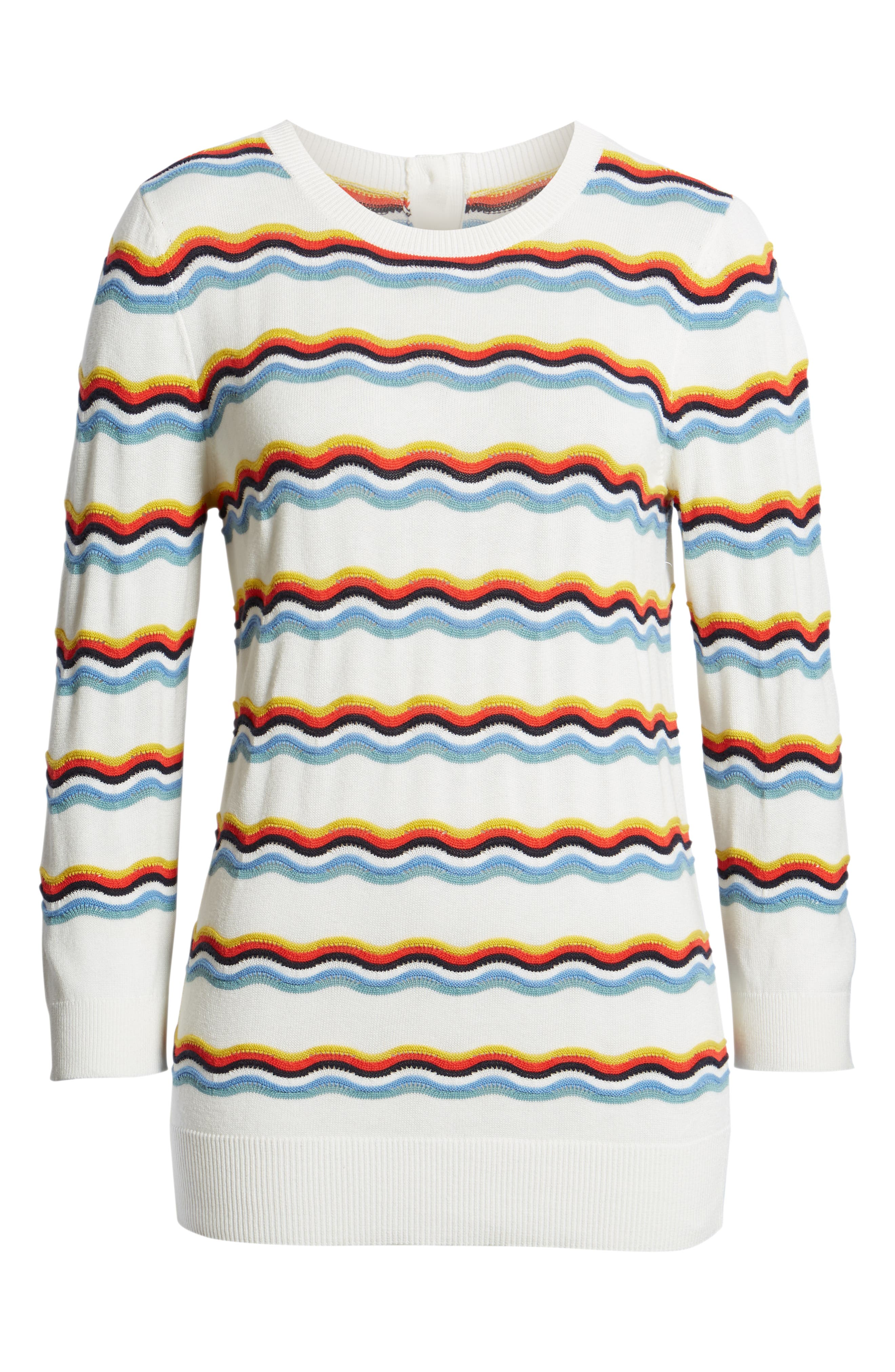 1901,                             Rickrack Sweater,                             Alternate thumbnail 6, color,                             IVORY CLOUD WAVE STRIPE