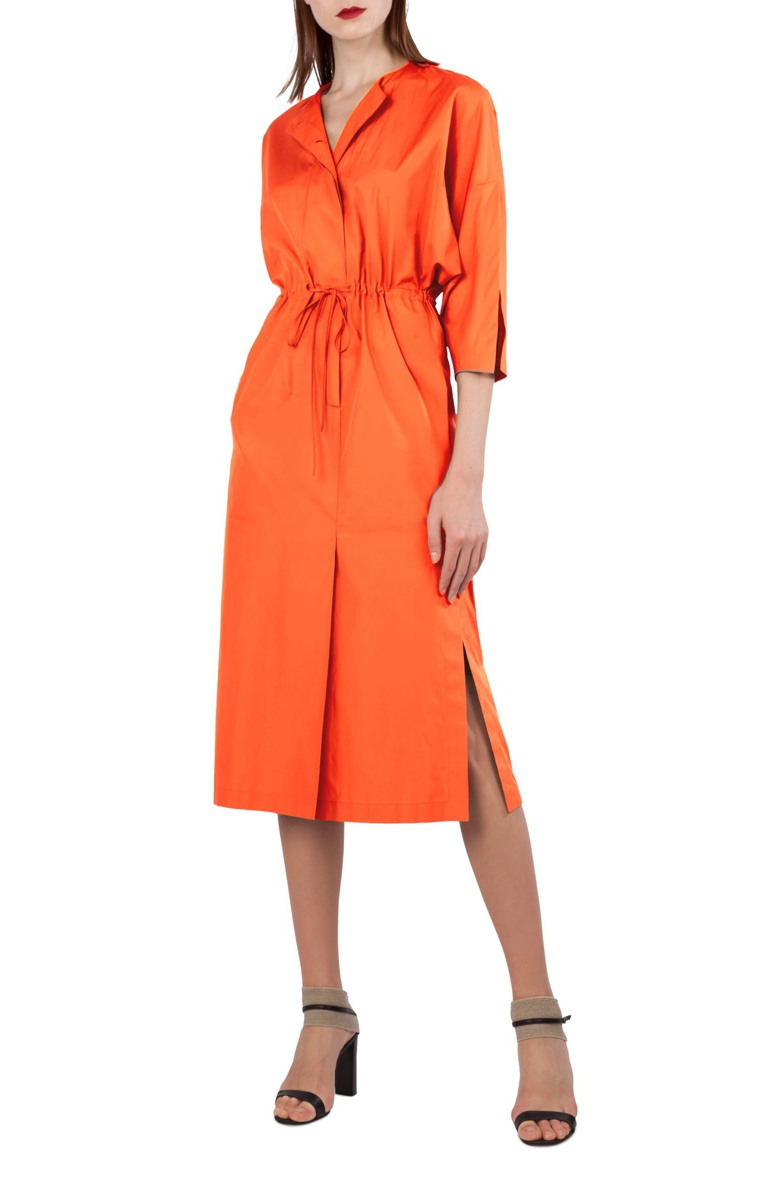 Kimono Sleeve Cotton Poplin Dress,                             Alternate thumbnail 4, color,