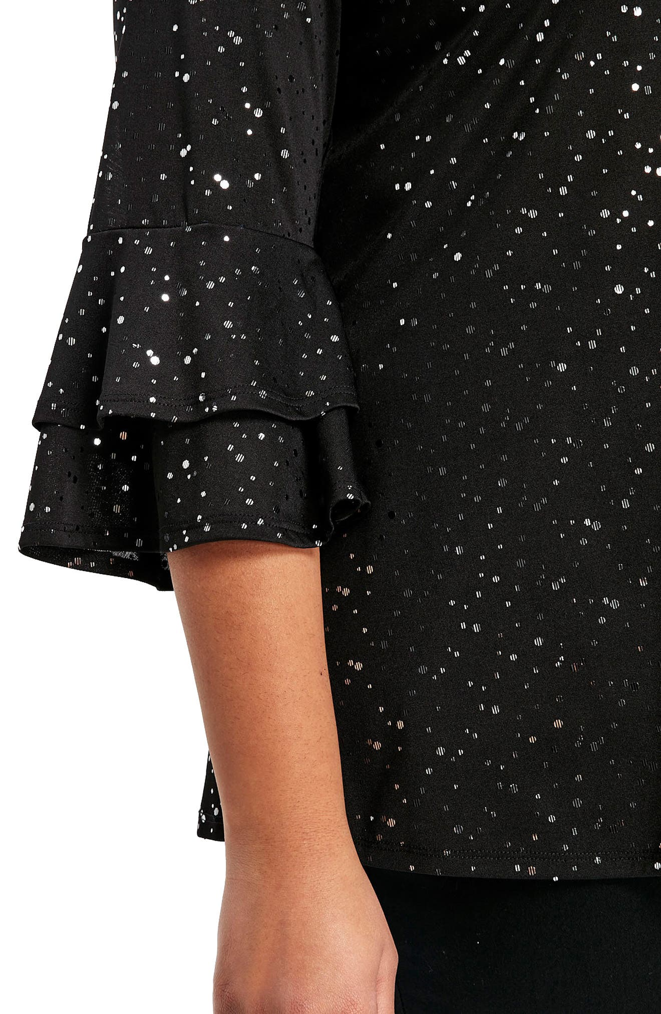 Sparkle Bell Sleeve Top,                             Alternate thumbnail 4, color,