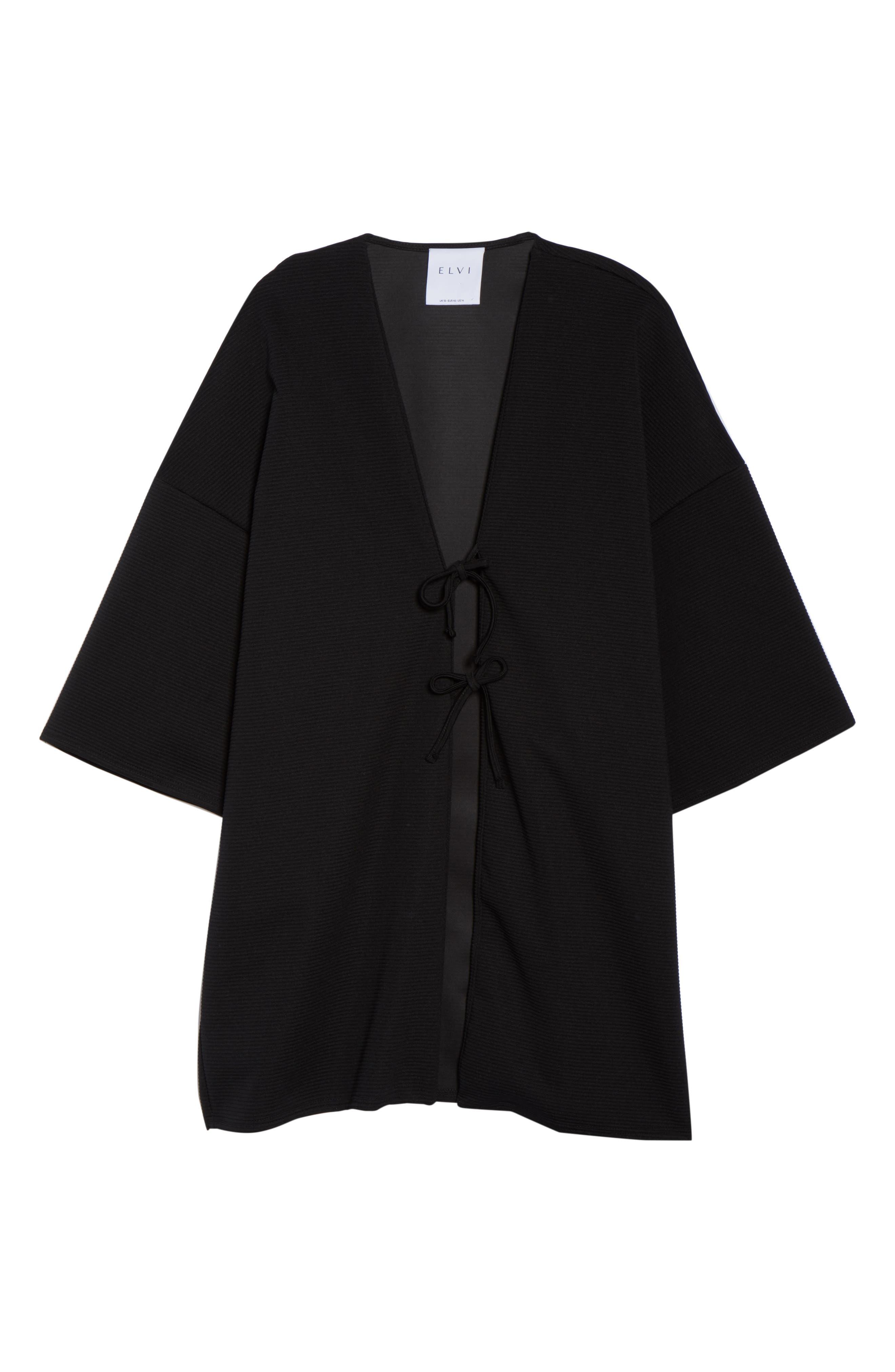 The Lacquer Bonded Jersey Kimono,                             Alternate thumbnail 5, color,                             001