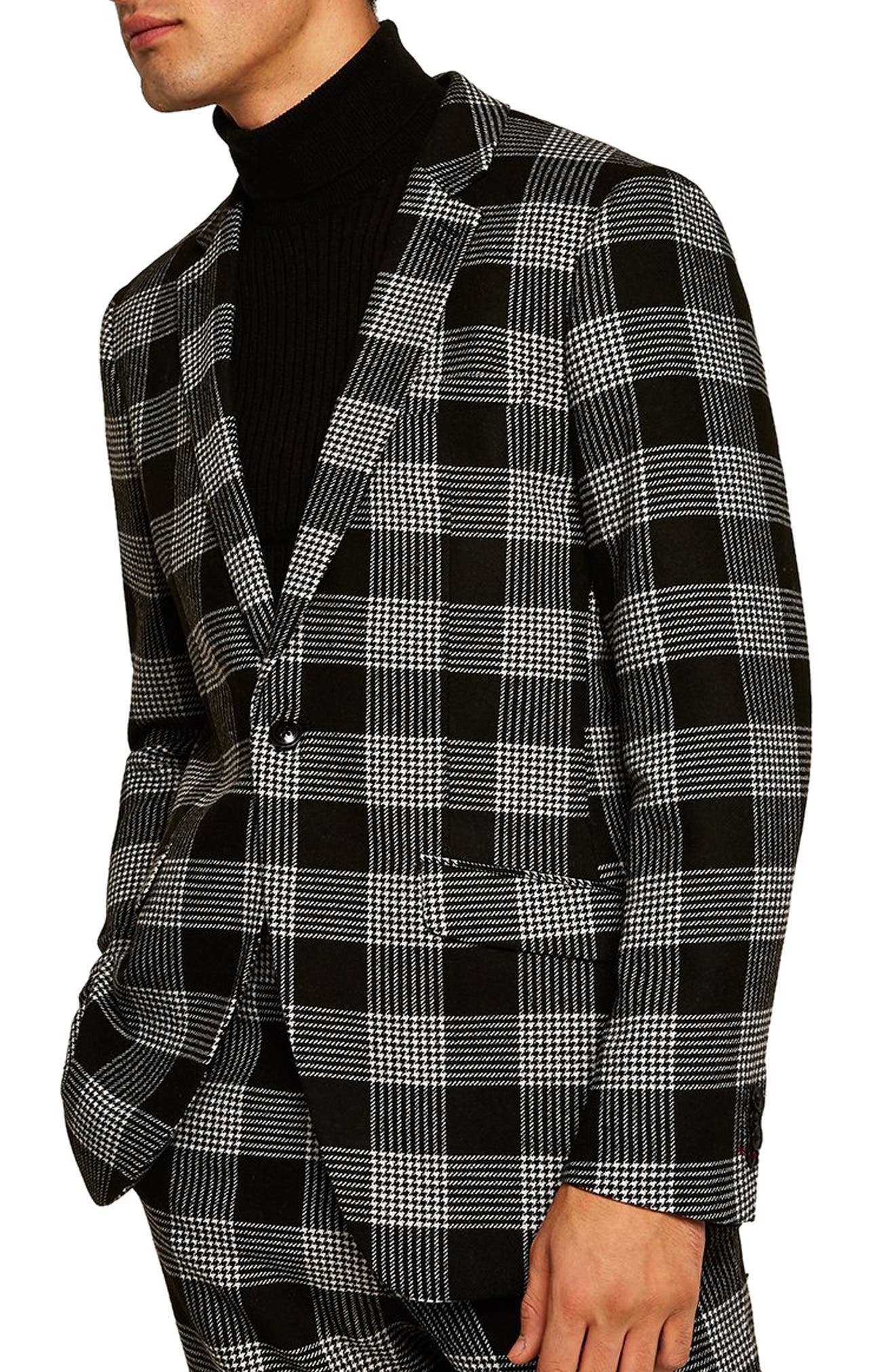 TOPMAN Leigh Classic Check Slim Fit Suit Jacket in Black Multi