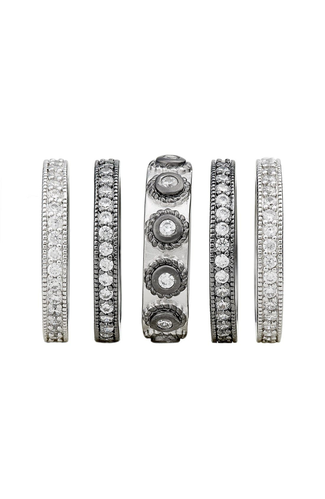 'Contemporary Deco' Stacking Rings,                             Alternate thumbnail 5, color,                             SILVER/ BLACK