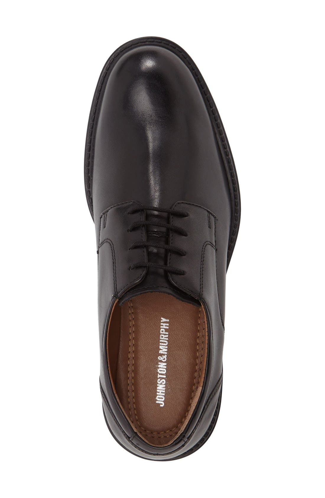 Tabor Plain Toe Derby,                             Alternate thumbnail 4, color,                             BLACK LEATHER