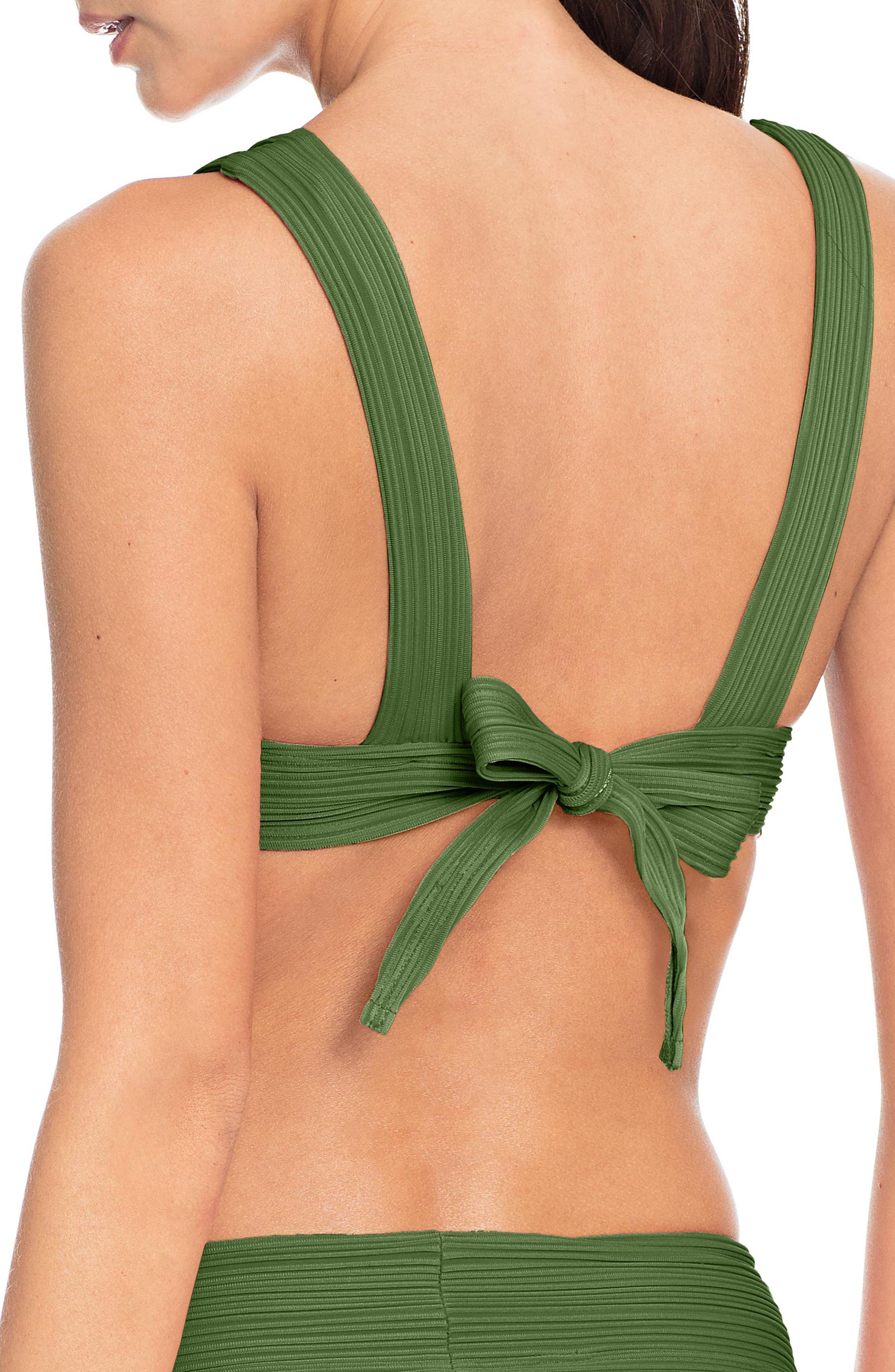 Lily V-Neck Bikini Top,                             Alternate thumbnail 2, color,                             BASIL