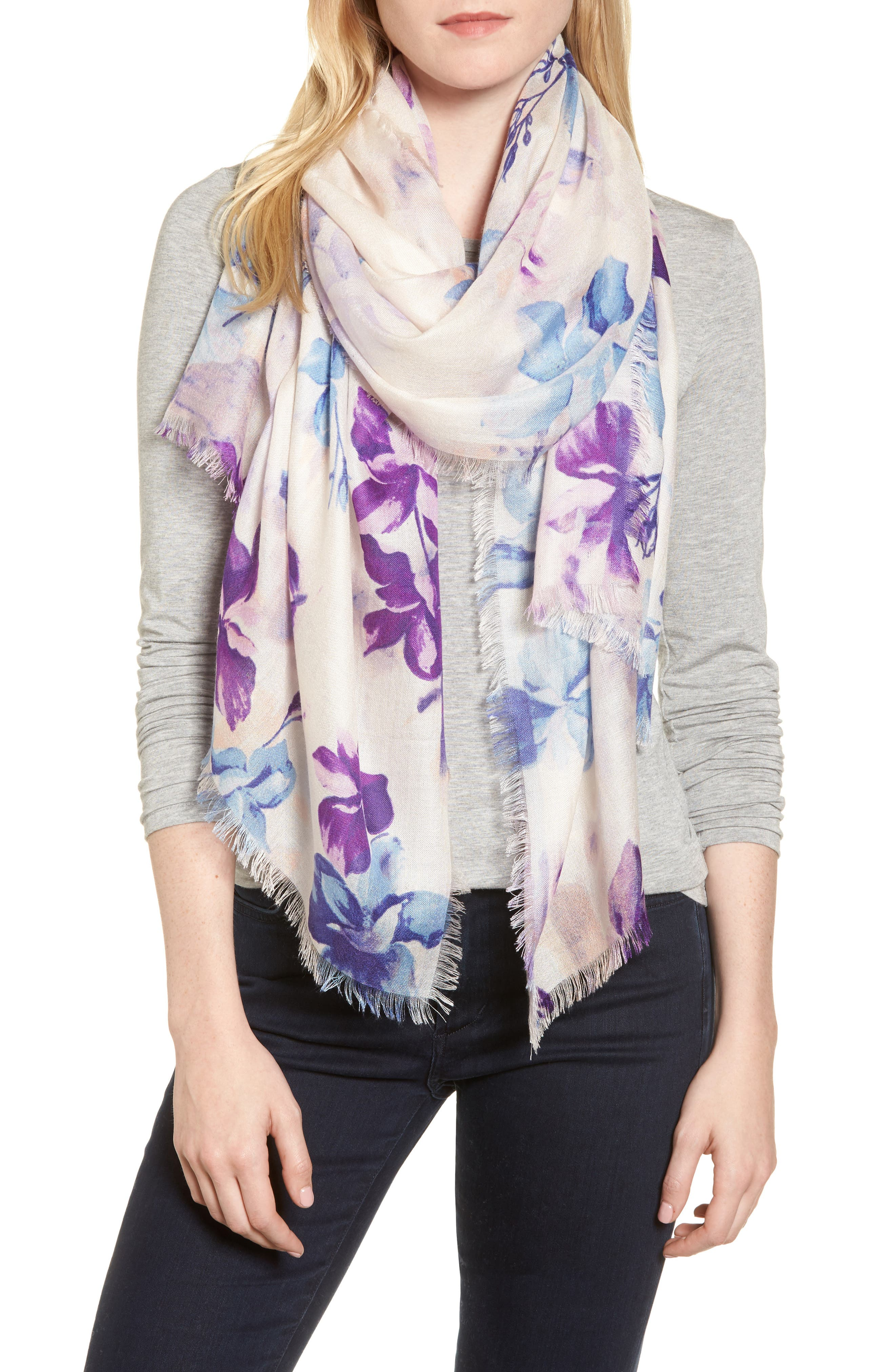 Eyelash Trim Print Cashmere & Silk Wrap,                             Main thumbnail 10, color,