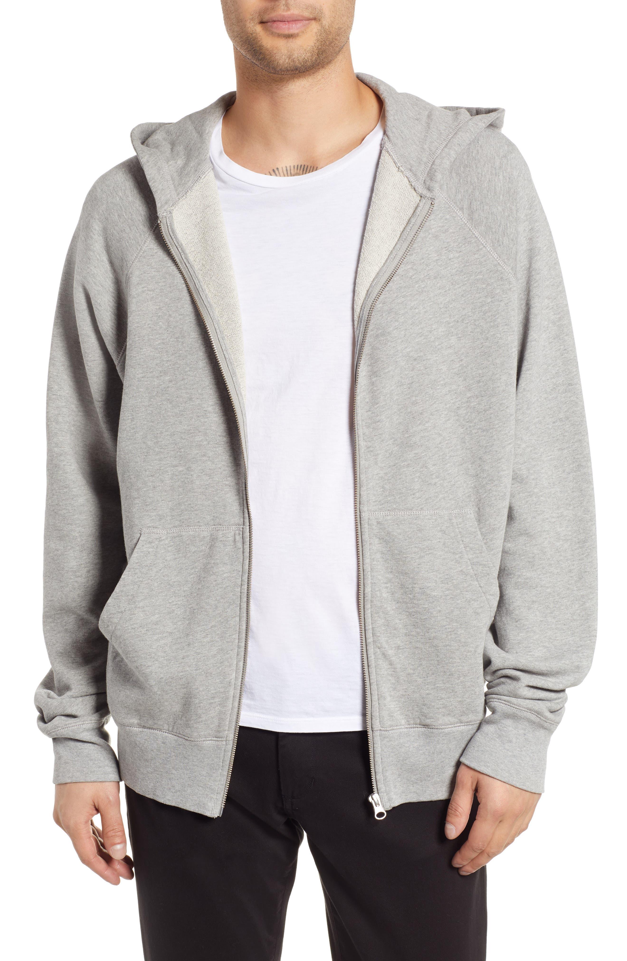Pause Hooded Zip Sweatshirt,                             Main thumbnail 1, color,                             GREY MELANGE