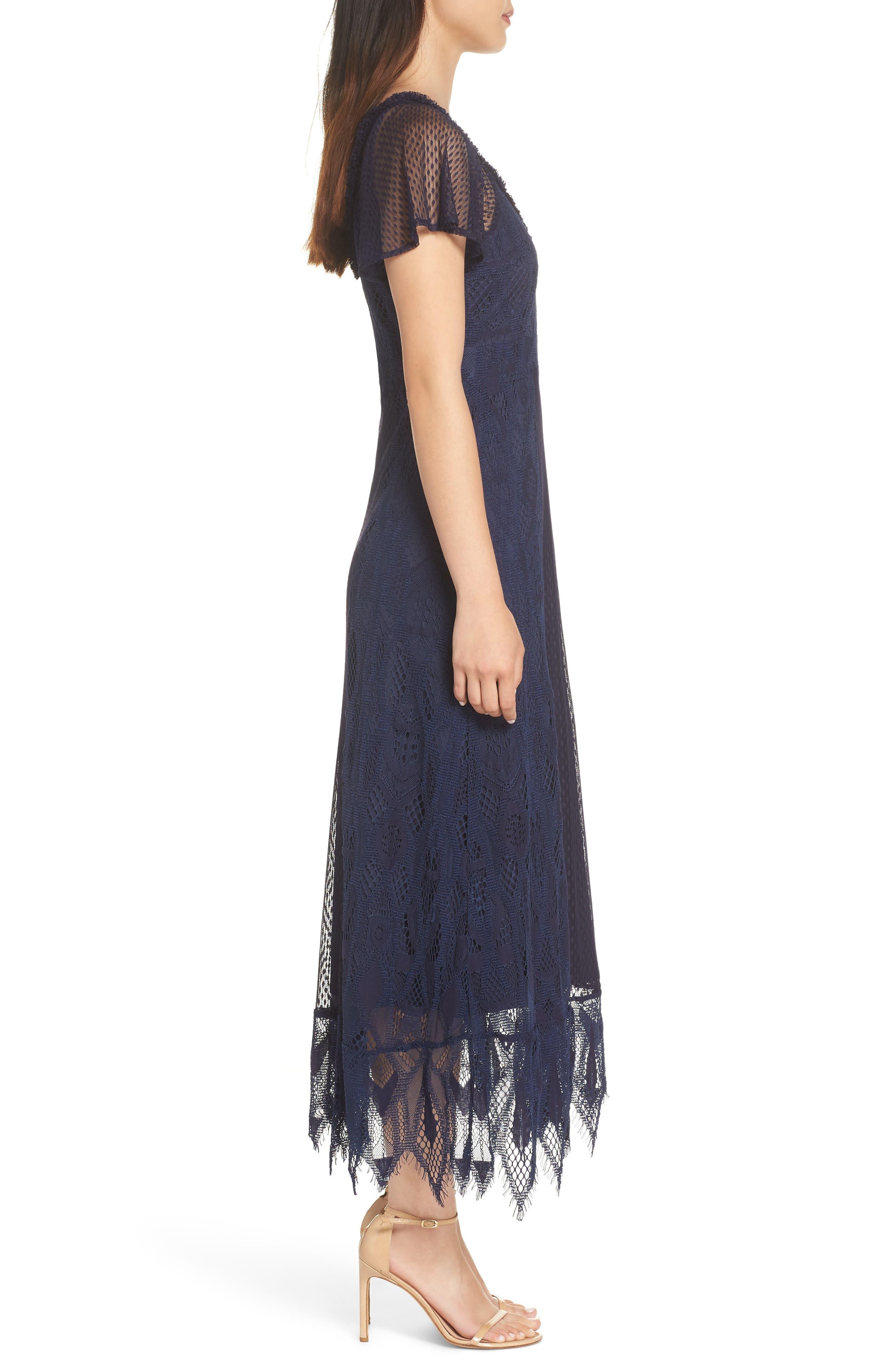 Gloria Lace Midi Dress,                             Alternate thumbnail 3, color,                             410