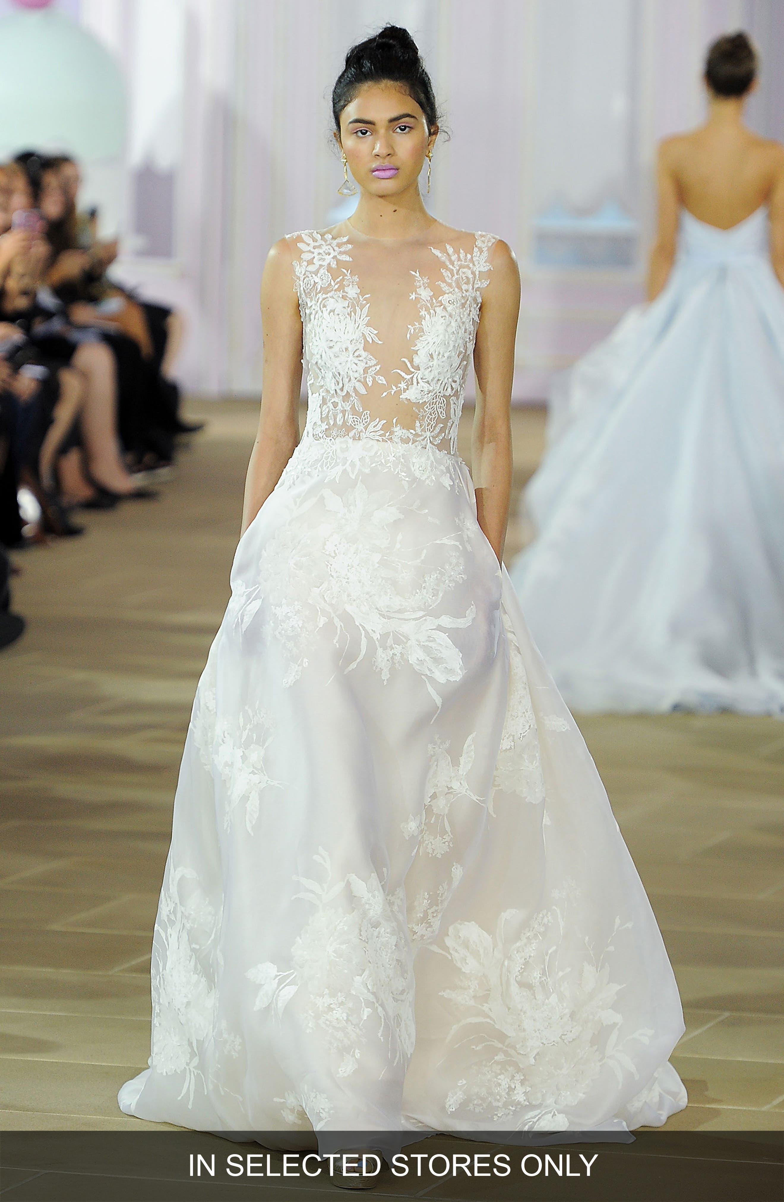 Coco Illusion Bodice Silk A-Line Gown,                         Main,                         color, 900