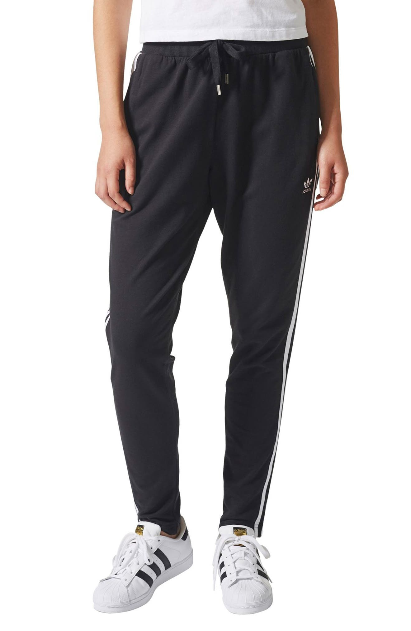 3-Stripes Tapered Pants, Main, color, 001