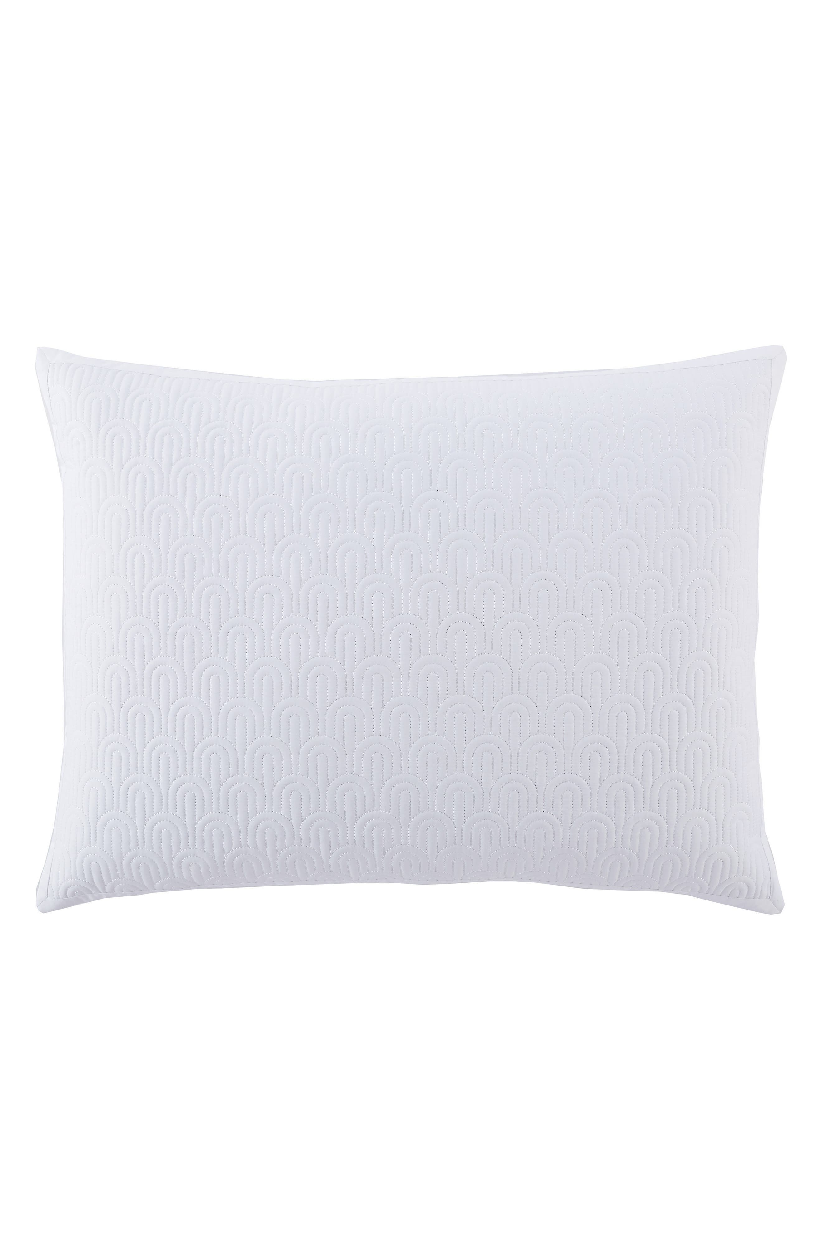 Quilted Sham,                         Main,                         color, WHITE