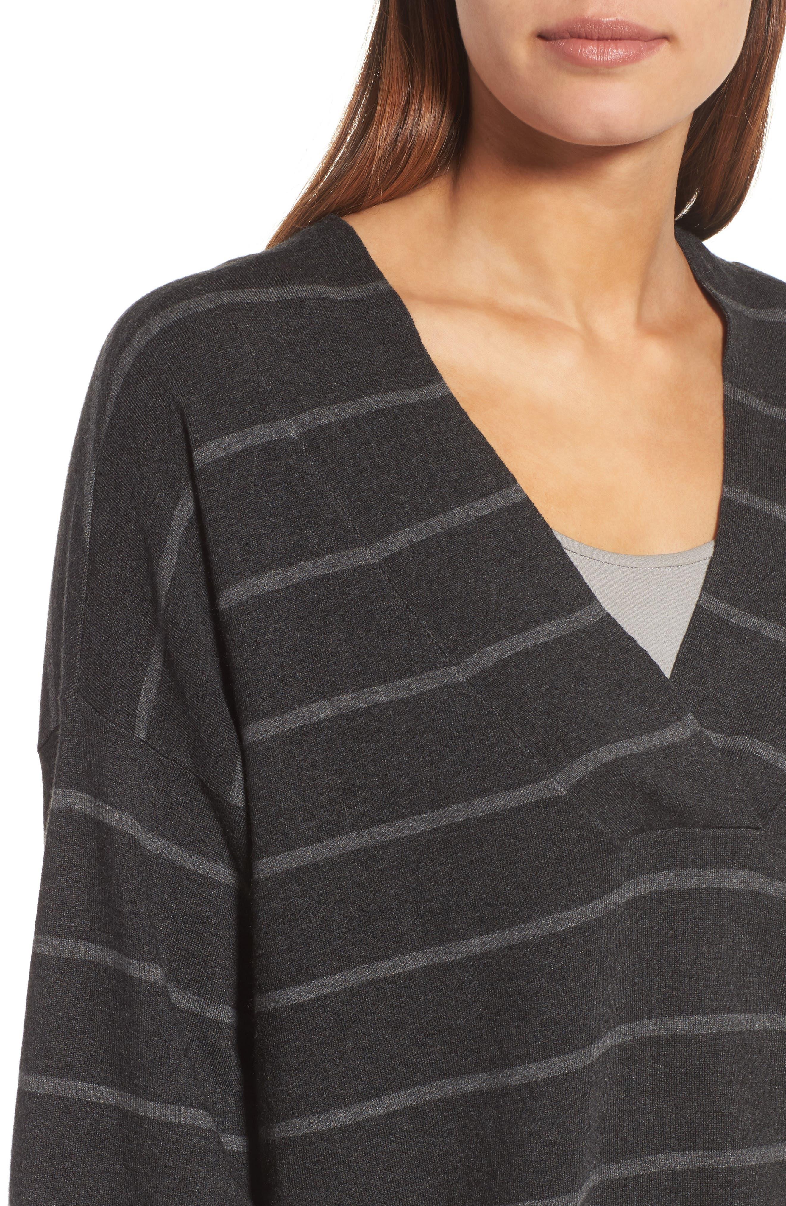 Stripe Tencel<sup>®</sup> Blend Crop Sweater,                             Alternate thumbnail 4, color,                             064