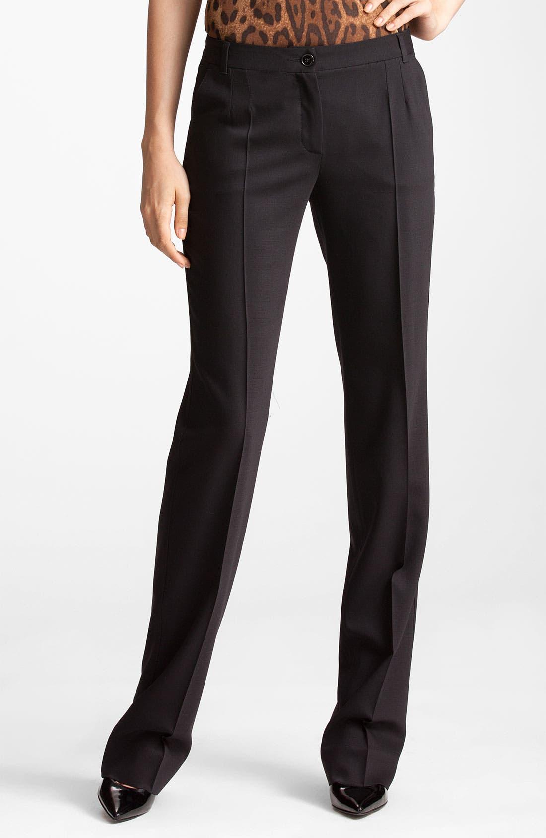 Straight Leg Stretch Wool Trousers,                             Main thumbnail 1, color,                             BLACK