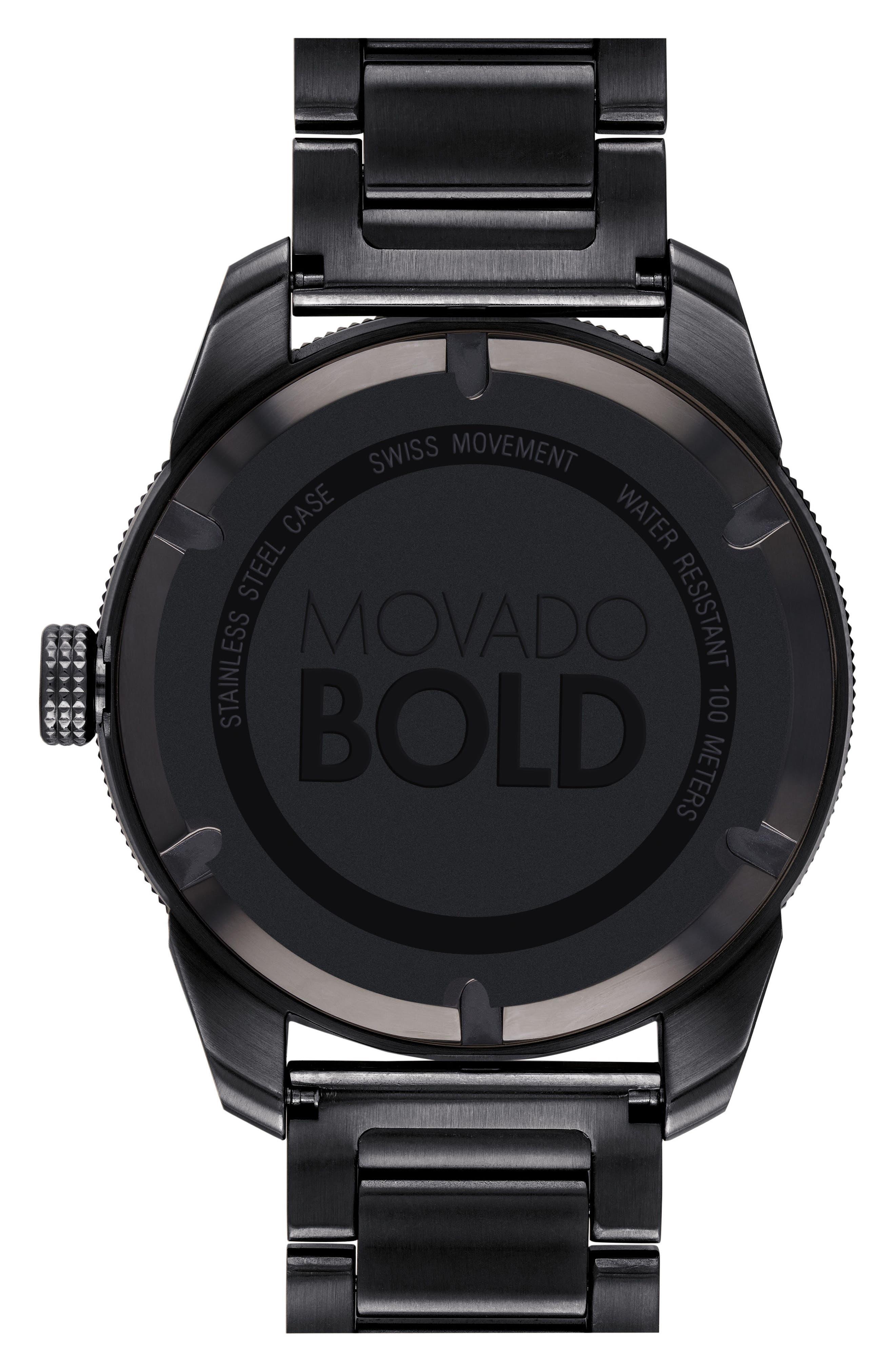 Bold Bracelet Watch, 43.5mm,                             Alternate thumbnail 2, color,                             BLACK