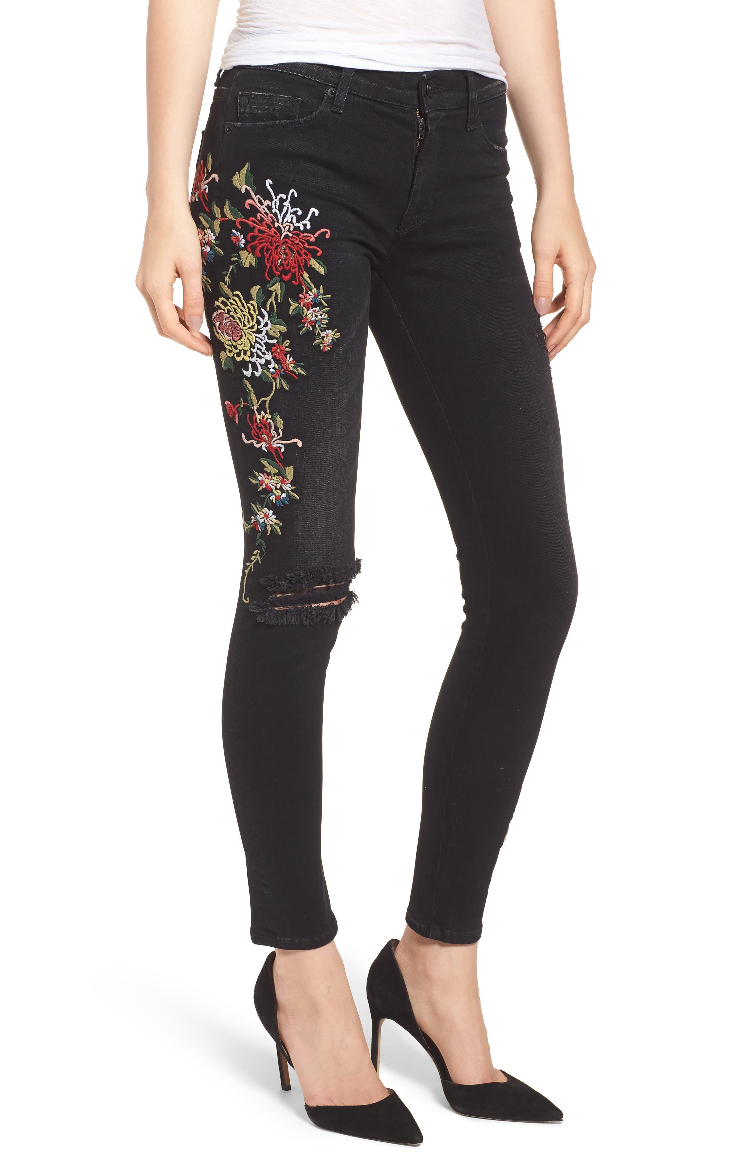 Nico Ankle Skinny Jeans,                         Main,                         color, NOIR FLORET