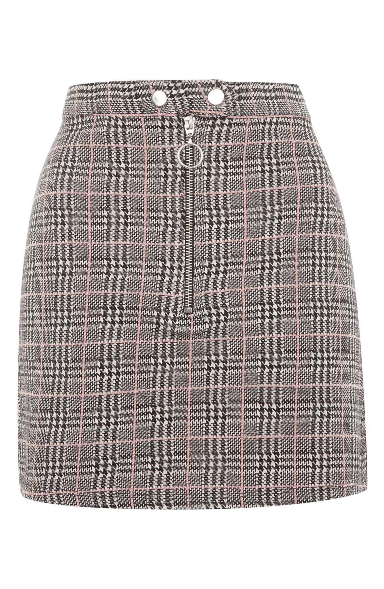 Zip Check Mini Skirt,                             Alternate thumbnail 3, color,                             020