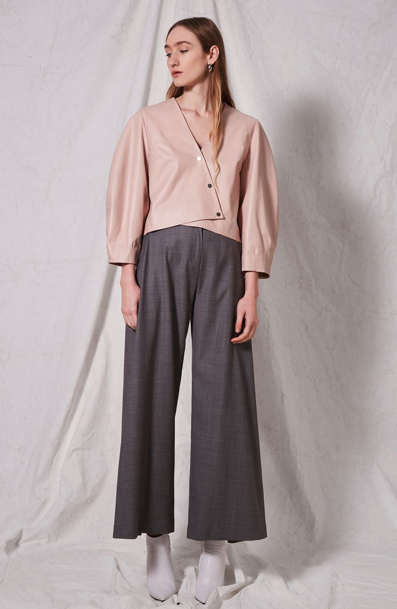 Leather Puff Sleeve Wrap Top,                             Alternate thumbnail 7, color,                             650