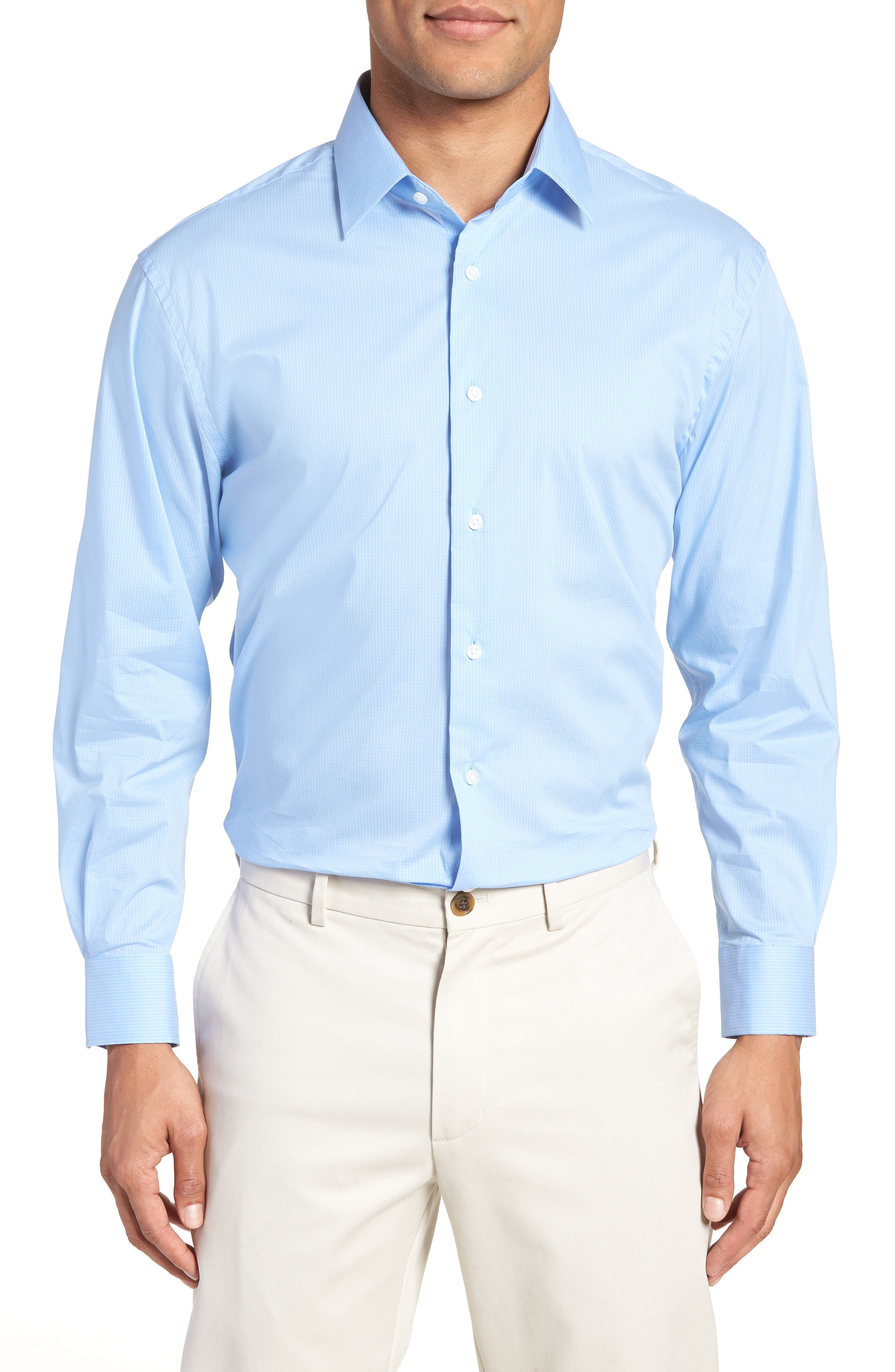 Traditional Fit Stretch Check Dress Shirt,                             Main thumbnail 2, color,