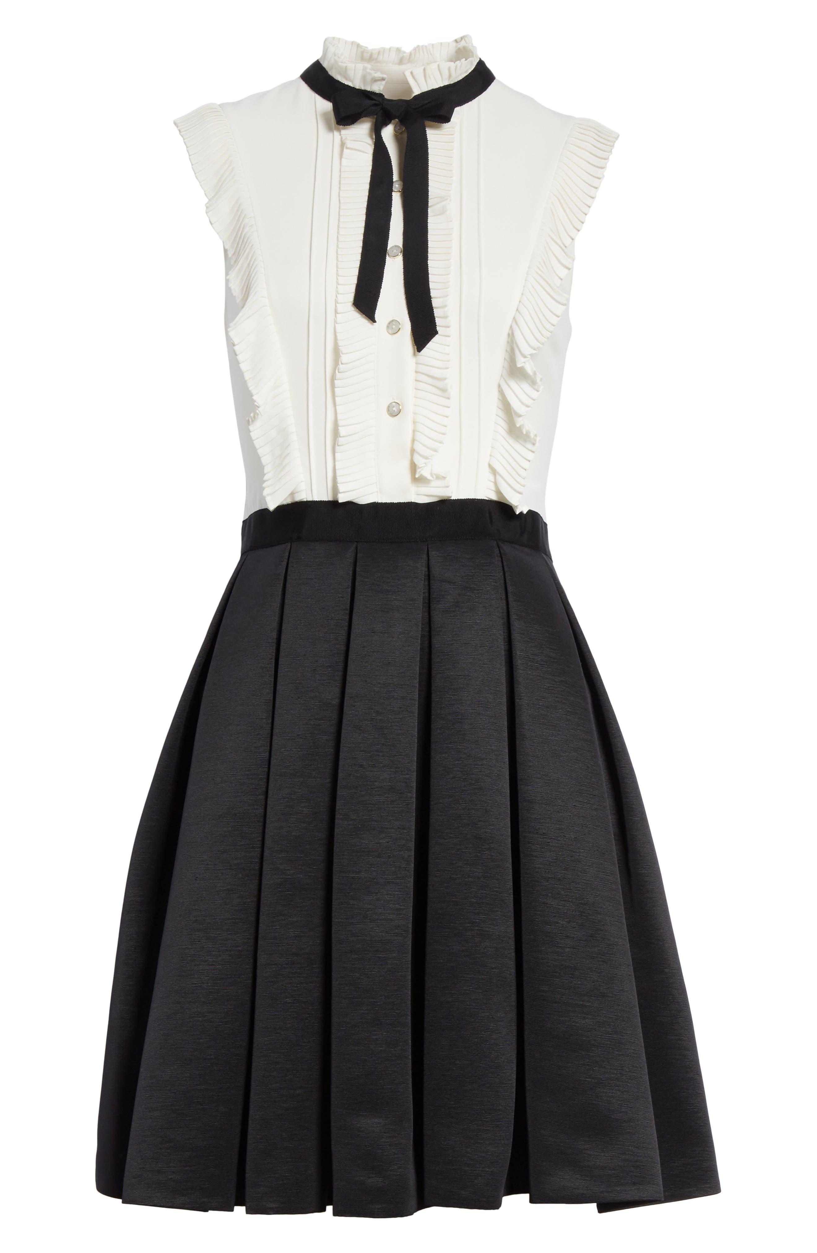 Pleated Neck Tie Dress,                             Alternate thumbnail 6, color,                             001
