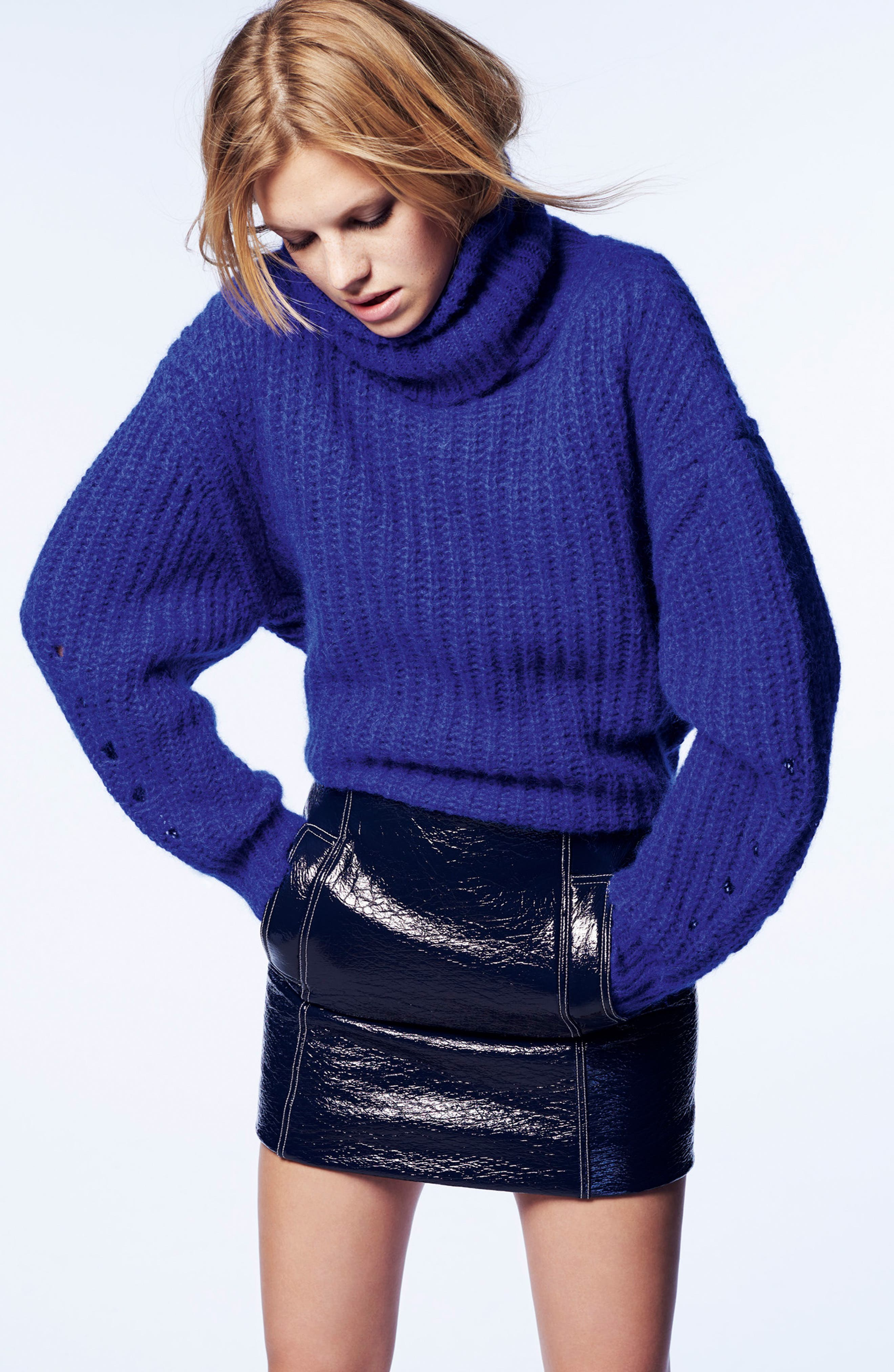 Emera Turtleneck Sweater,                             Alternate thumbnail 7, color,                             BLUE