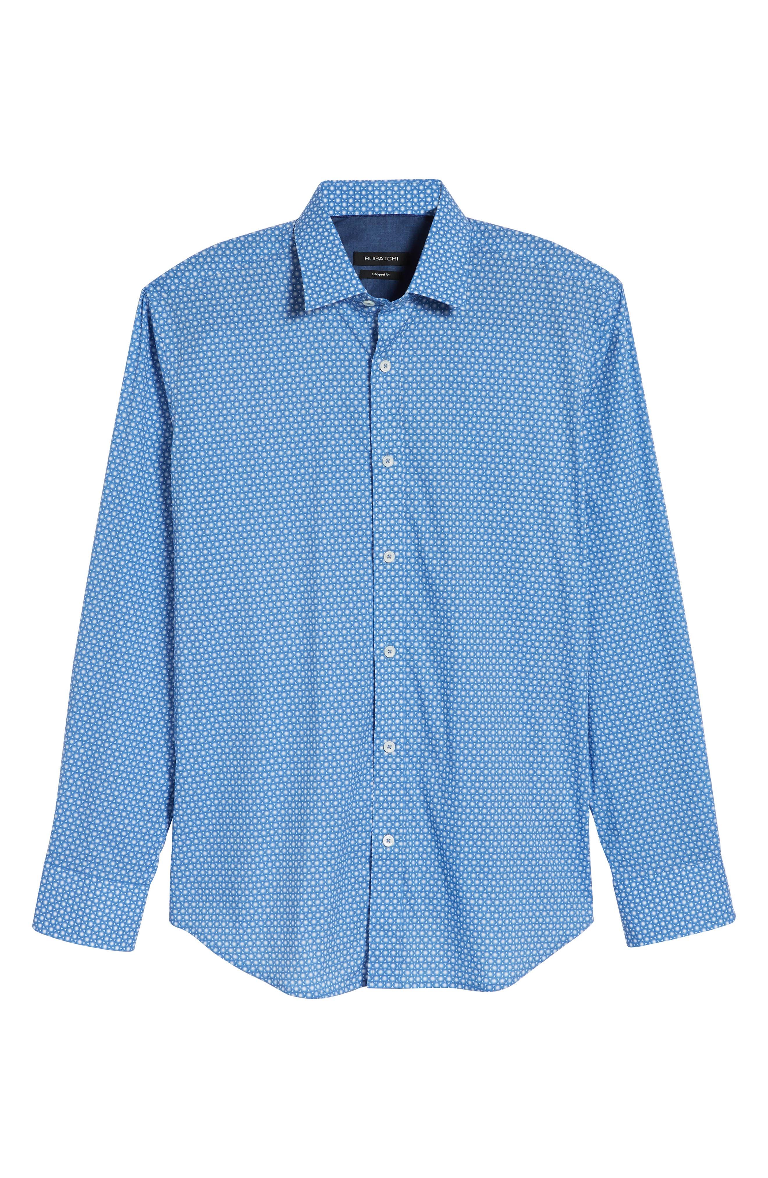 Shaped Fit Circle Print Sport Shirt,                             Alternate thumbnail 6, color,                             CLASSIC BLUE