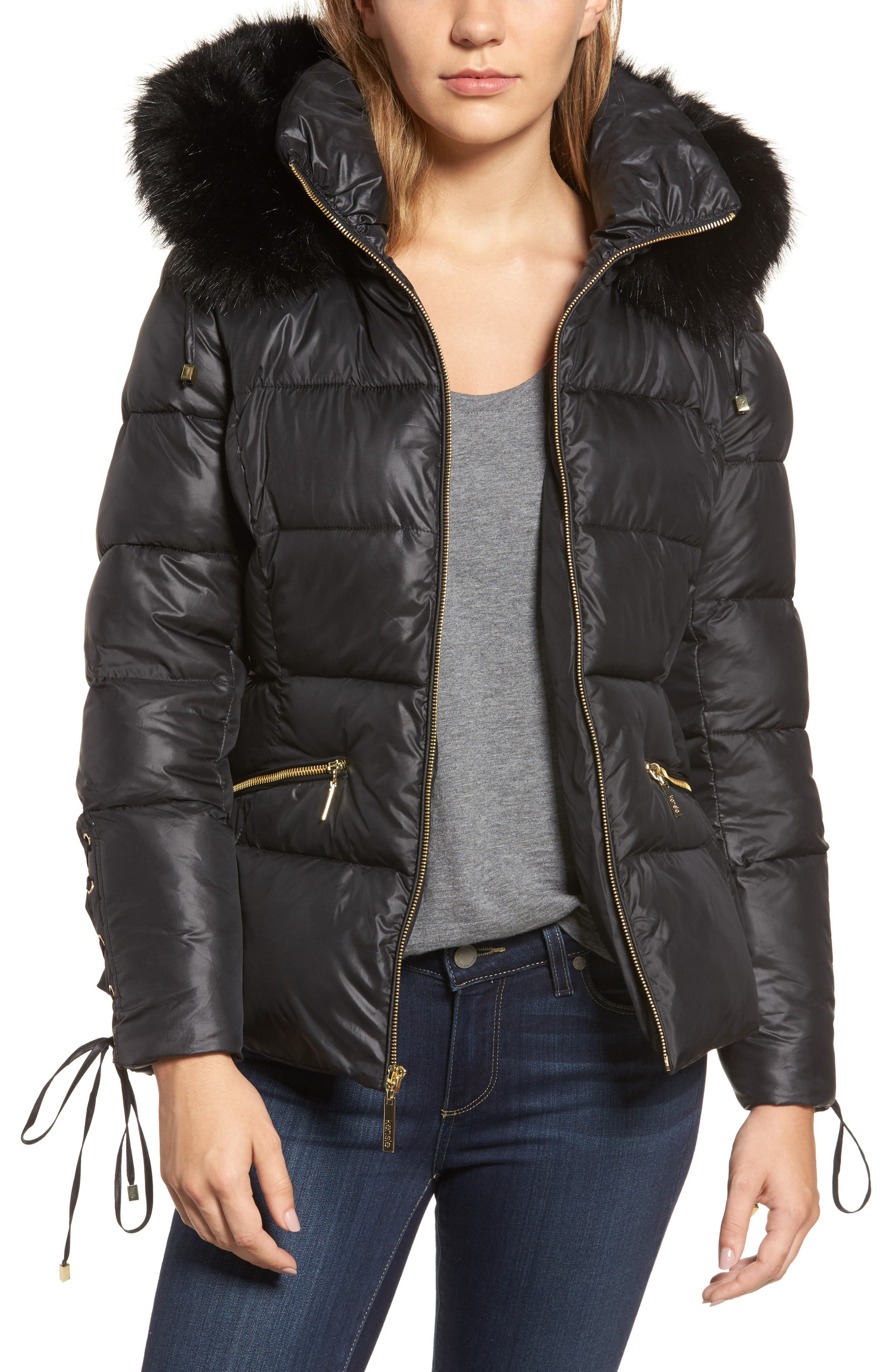 Lace Sleeve Puffer Coat with Faux Fur Trim Hood,                         Main,                         color,