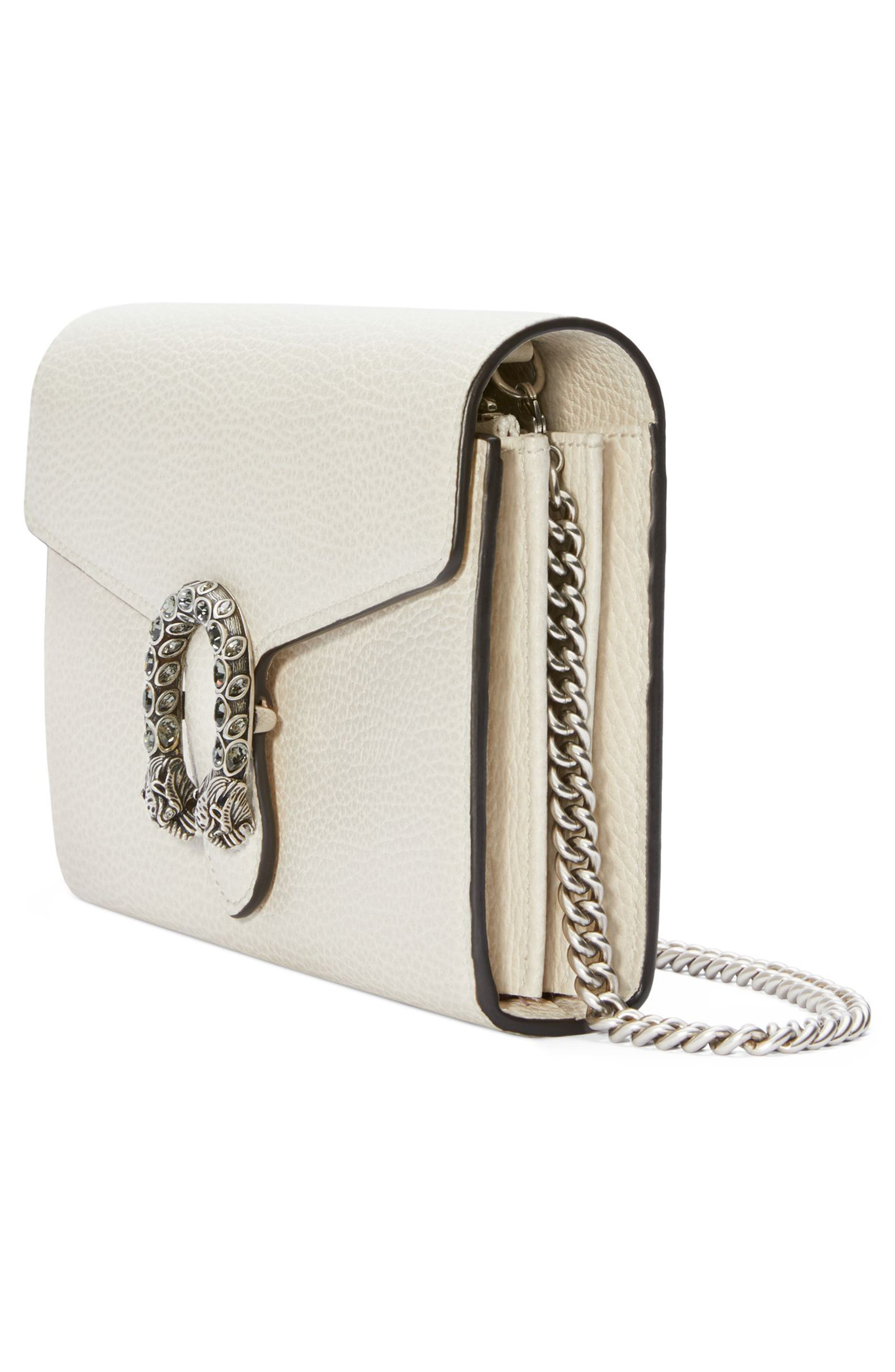 Small Dionysus Leather Clutch,                             Alternate thumbnail 4, color,                             MYSTIC WHITE/ BLACK DIAMOND