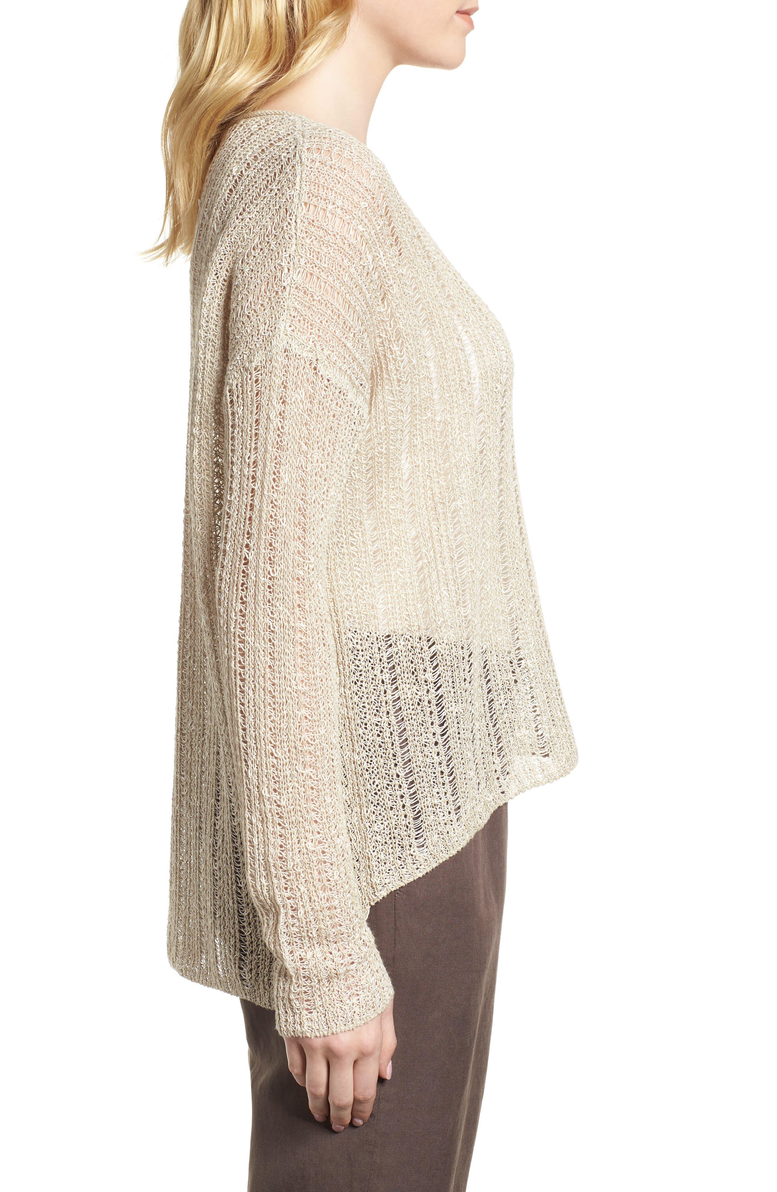 Open Knit Organic Linen Blend Sweater,                             Alternate thumbnail 9, color,