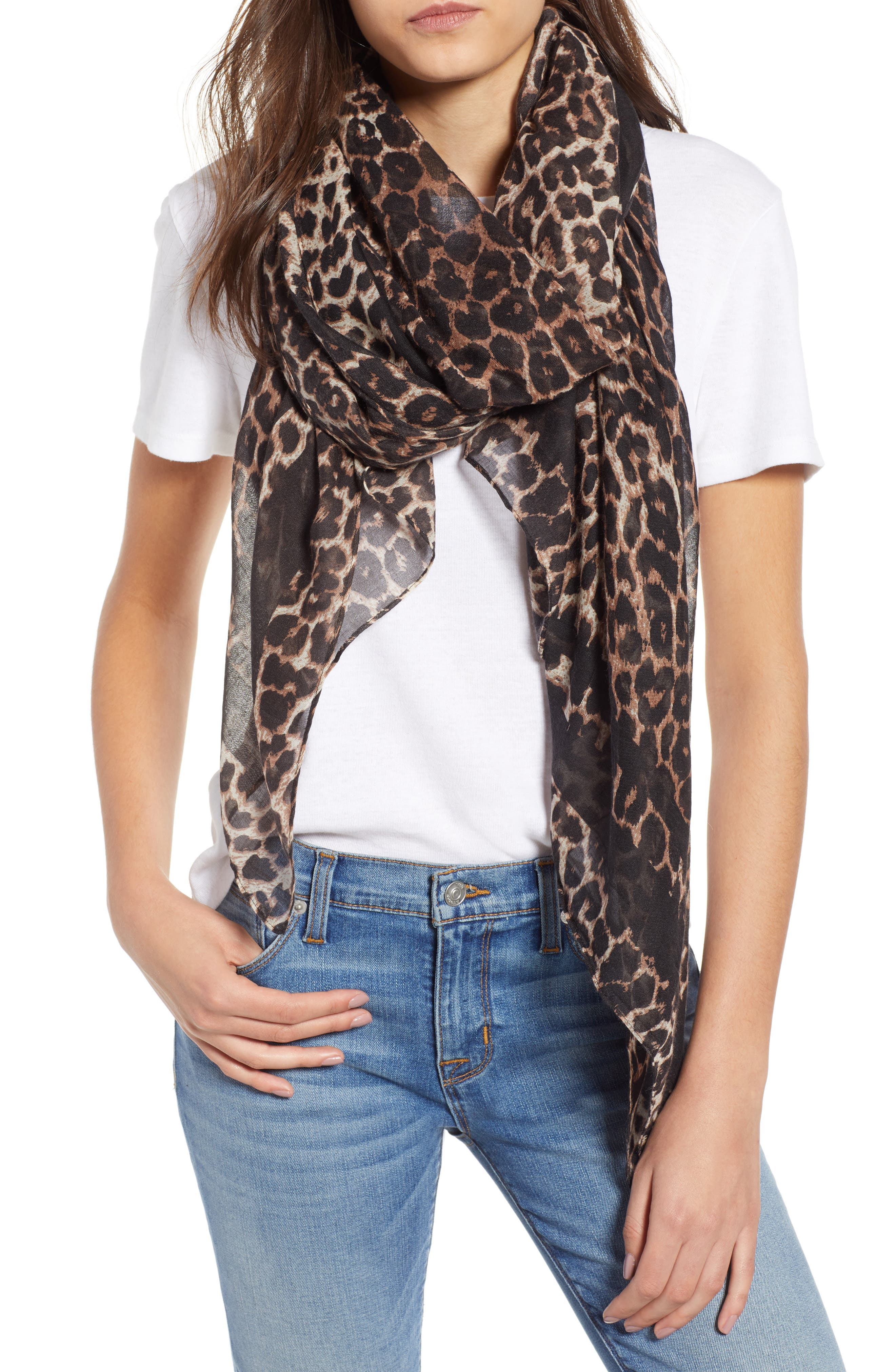 Leopard Print Oblong Scarf,                         Main,                         color, BROWN MULTI