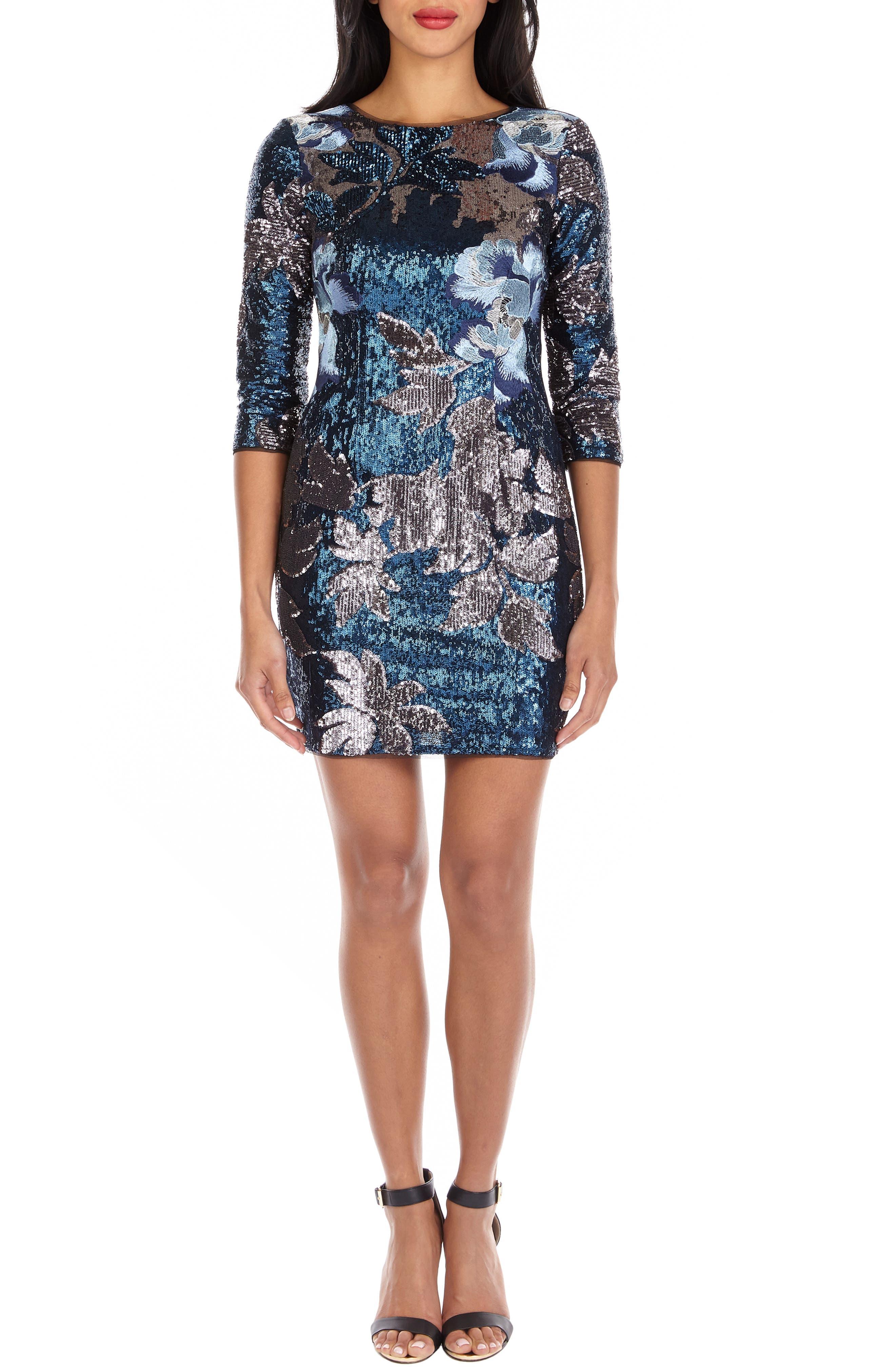 TFNC,                             Paris Basma Sequin Body-Con Dress,                             Alternate thumbnail 5, color,                             NAVY