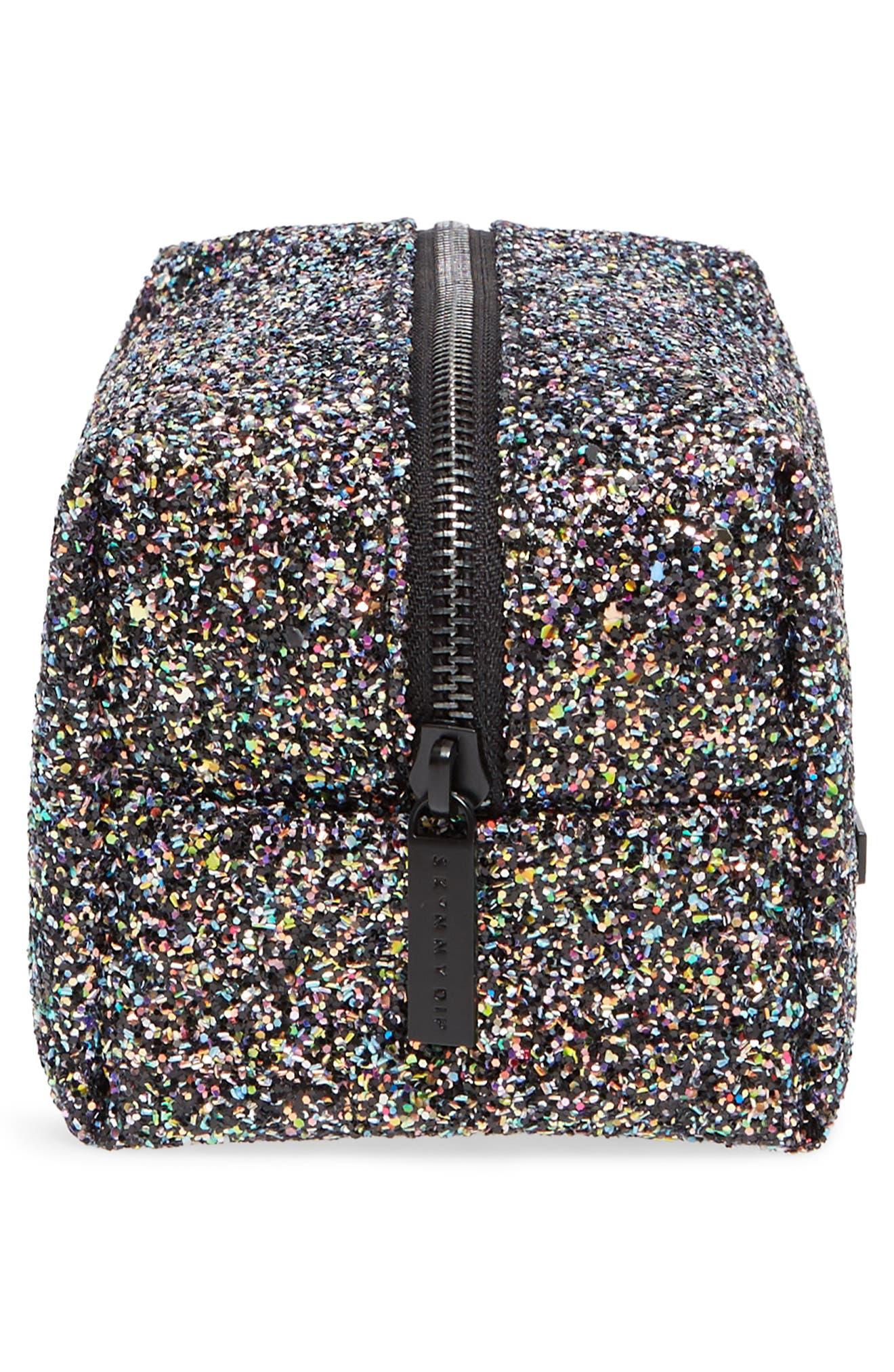 Skinny Dip Liquorice Glitter Cosmetics Bag,                             Alternate thumbnail 4, color,                             000