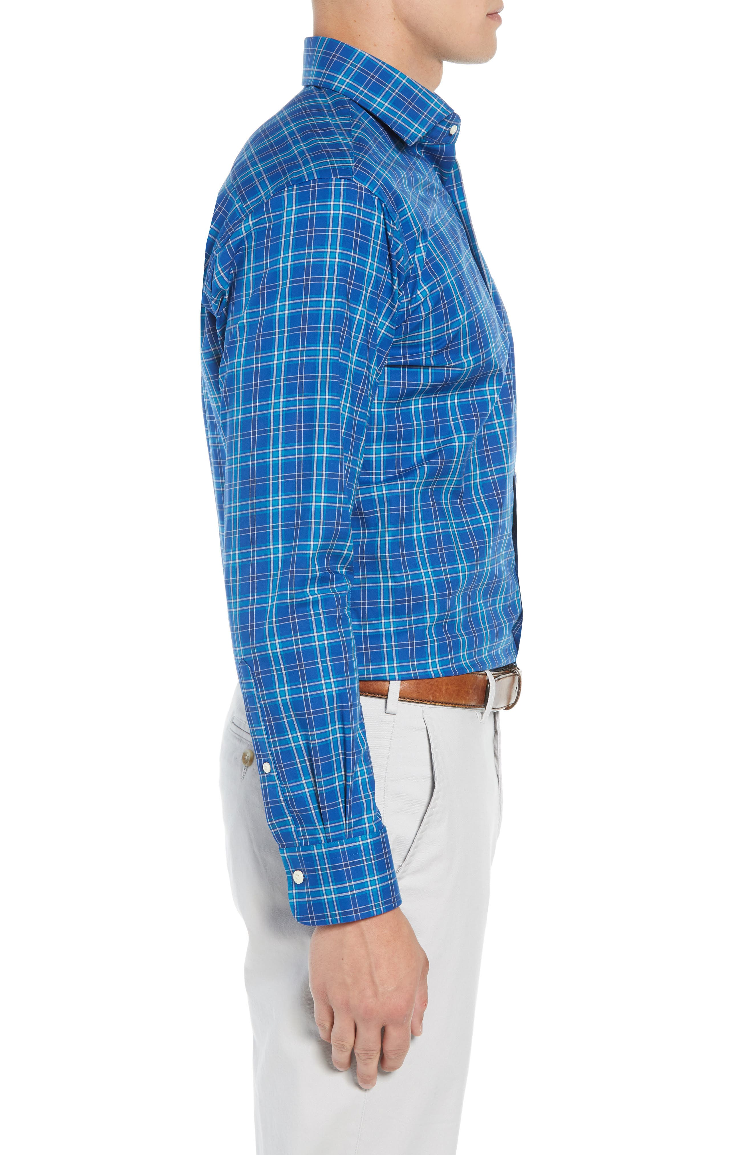 Crown Ease Salamanca Regular Fit Plaid Sport Shirt,                             Alternate thumbnail 4, color,                             BLUE