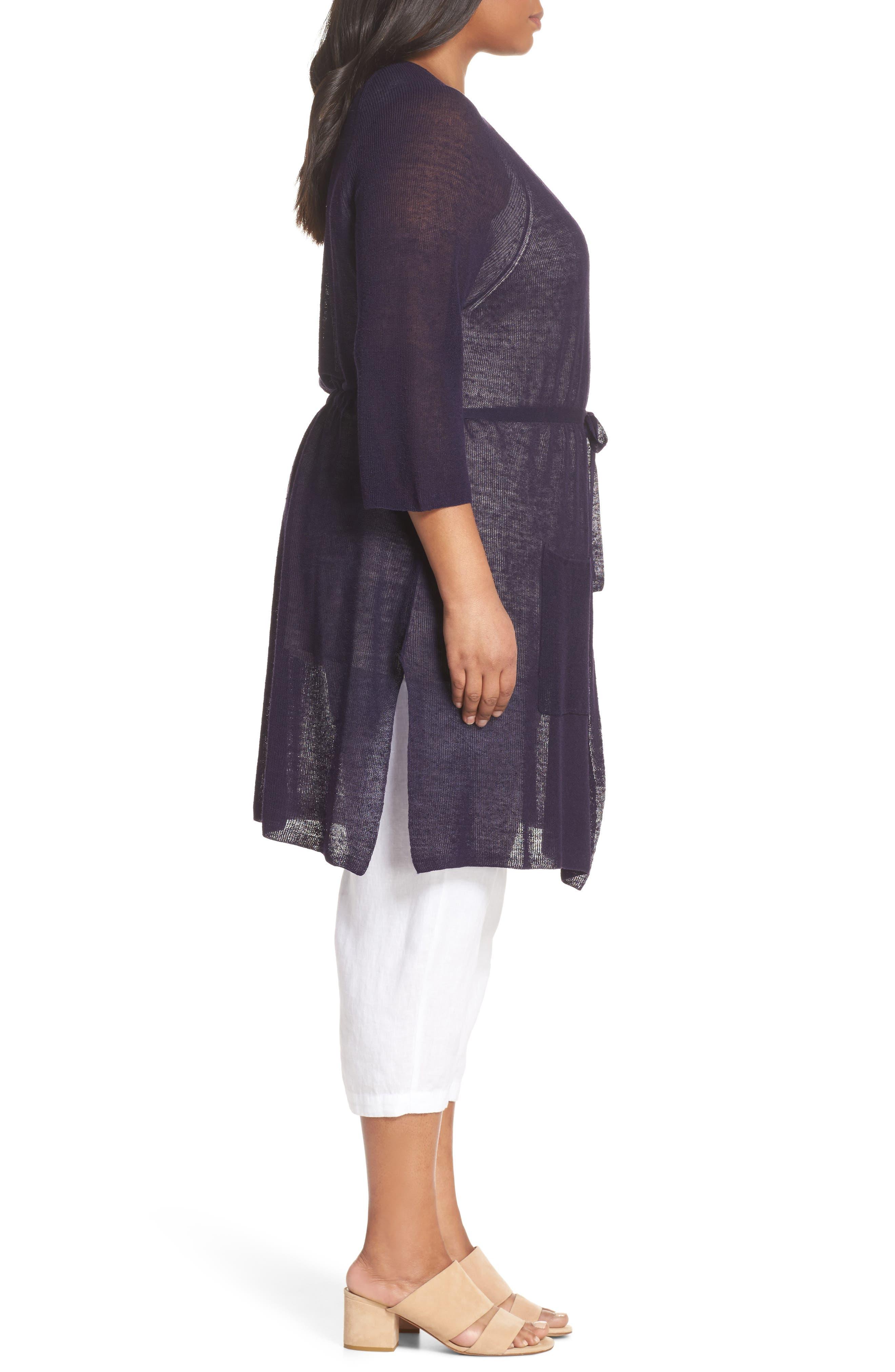 Long Organic Linen Blend Kimono Cardigan,                             Alternate thumbnail 10, color,