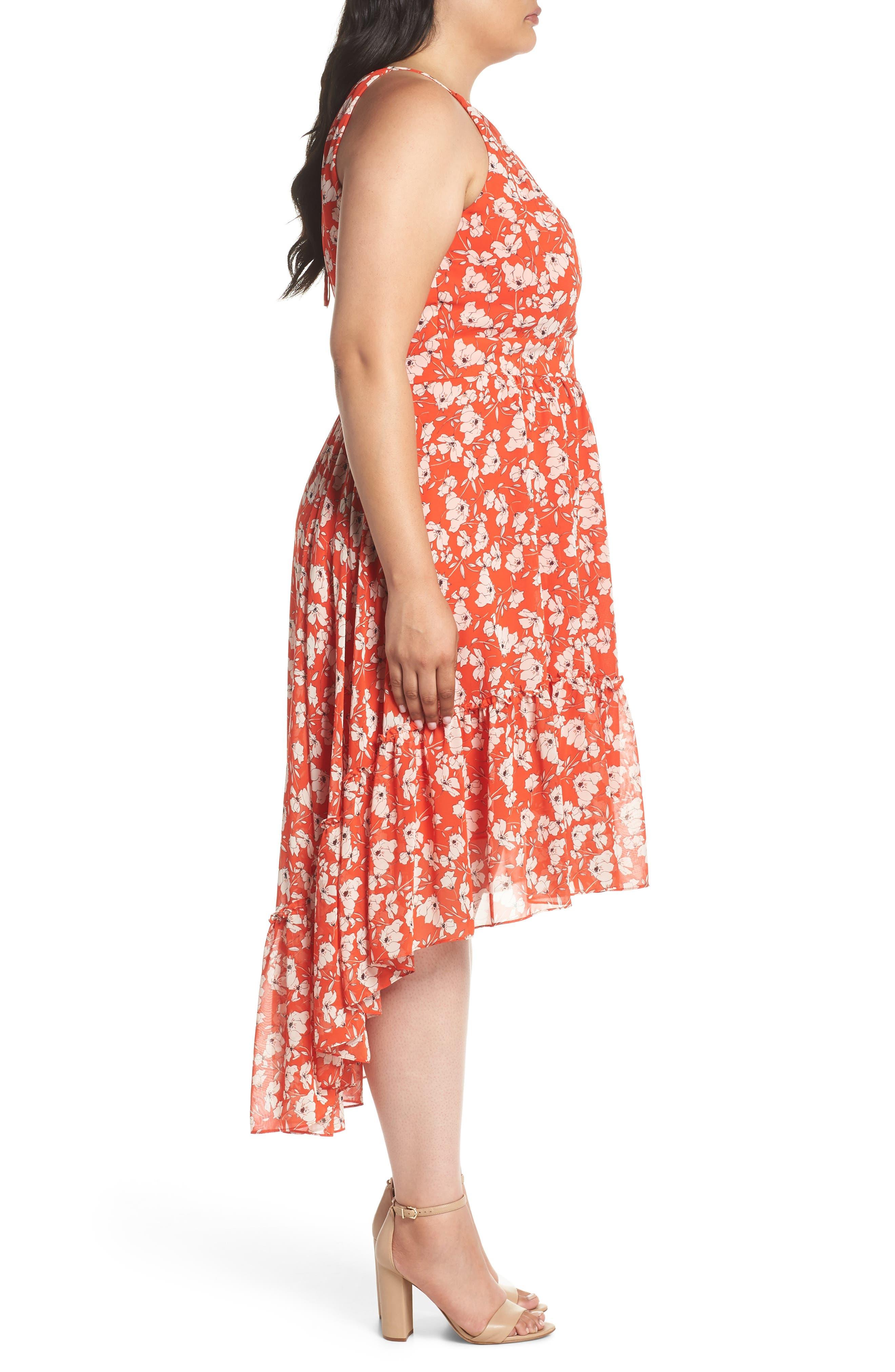 Ruffle Hem Halter Neck Chiffon Dress,                             Alternate thumbnail 3, color,                             600