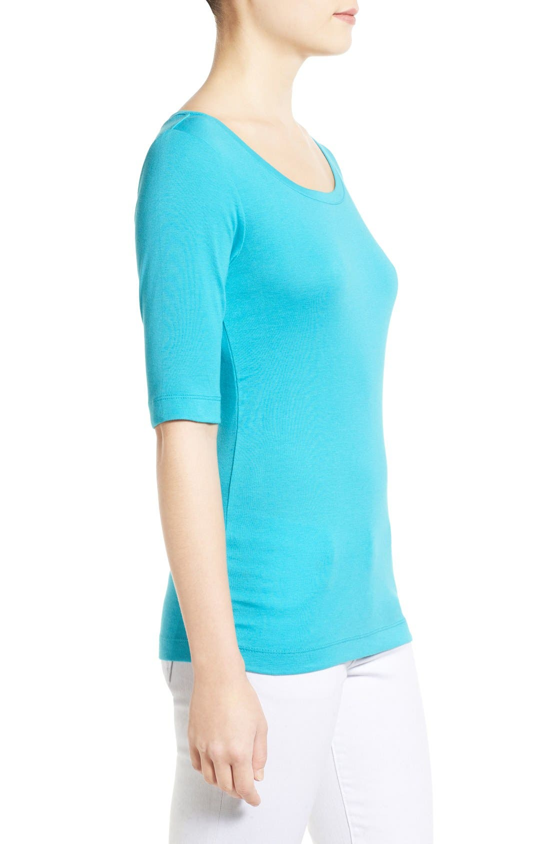 Ballet Neck Cotton & Modal Knit Elbow Sleeve Tee,                             Alternate thumbnail 190, color,