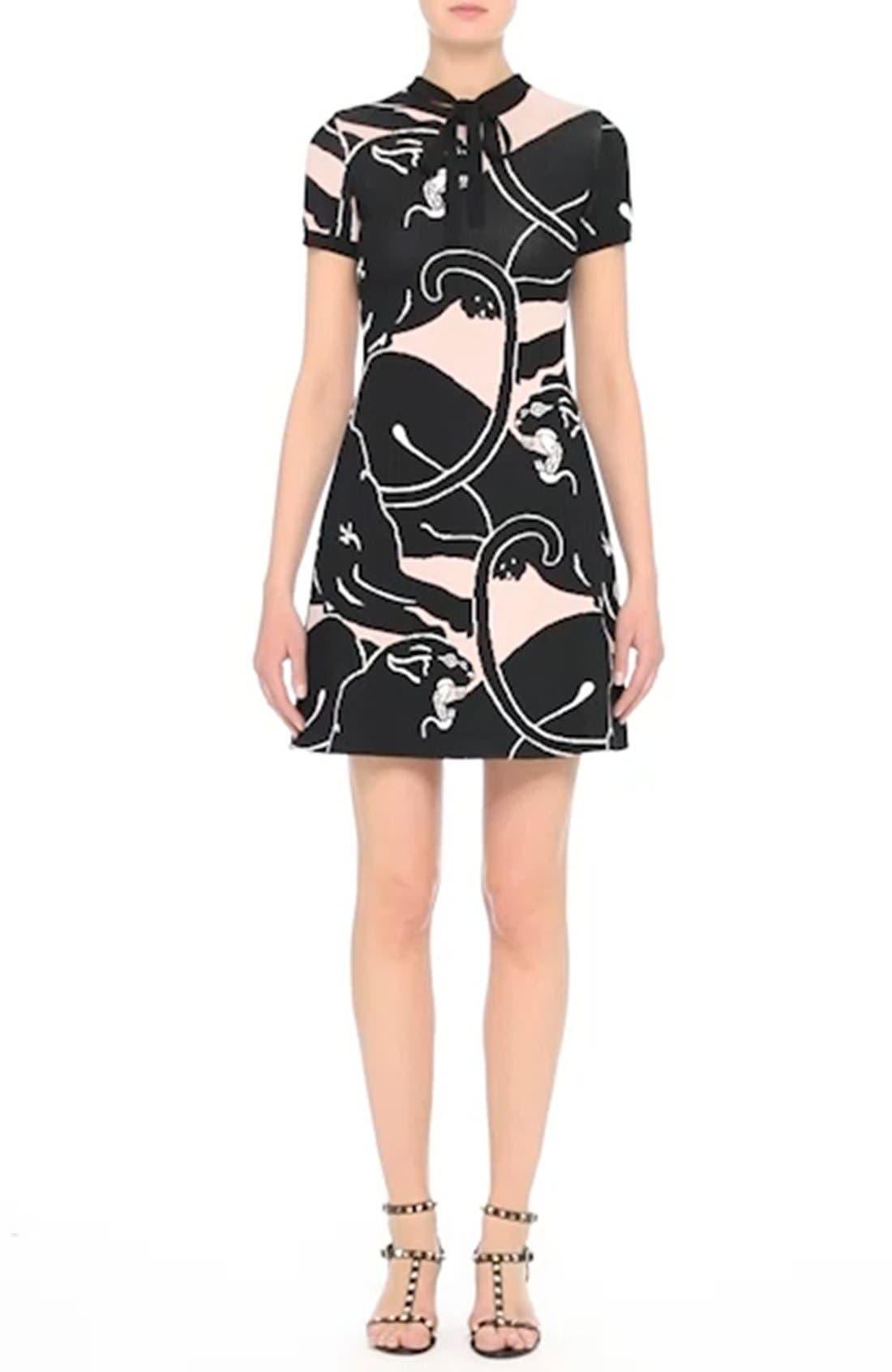 Jacquard Panther Print Dress,                             Alternate thumbnail 7, color,                             001