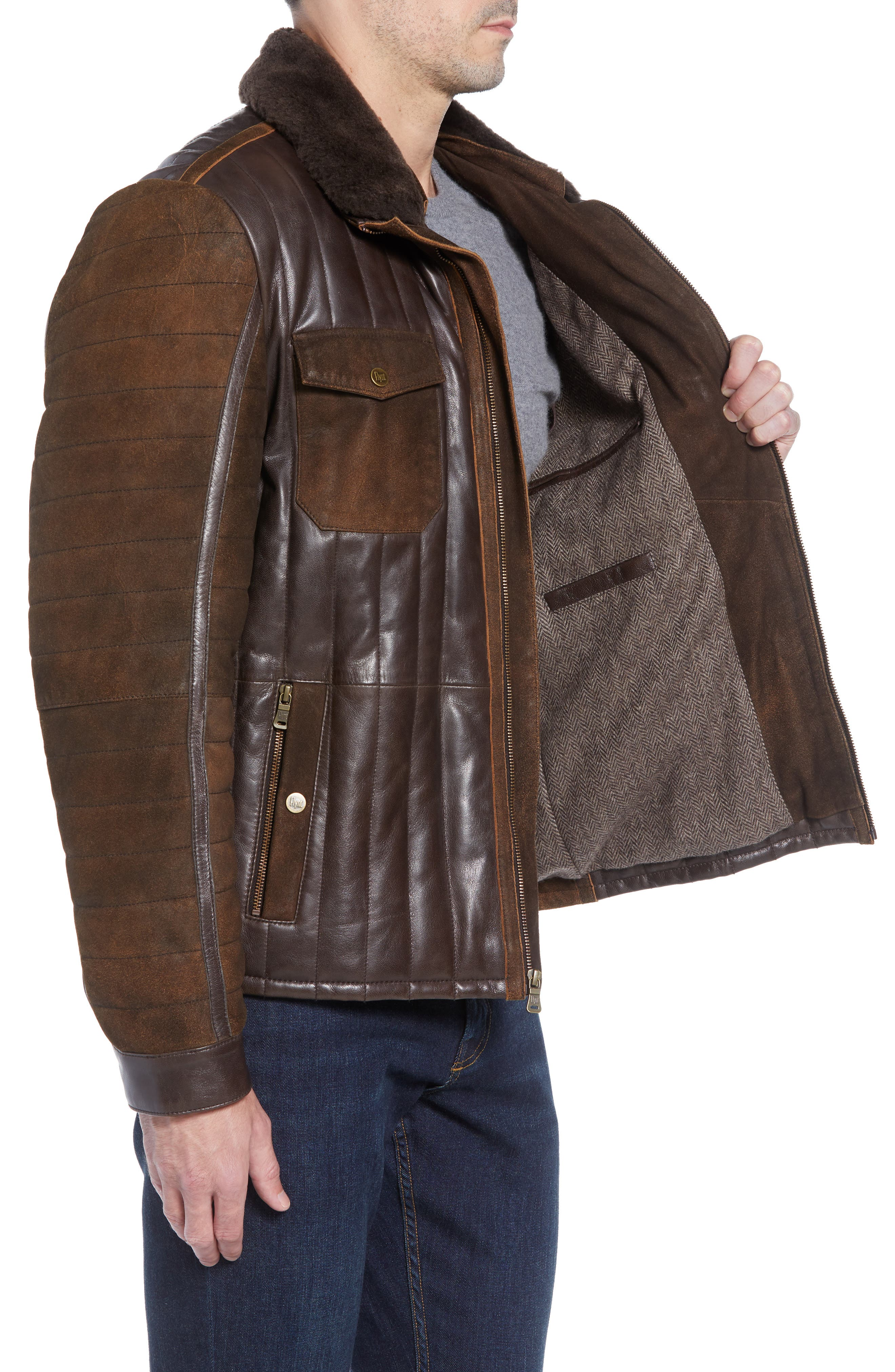 Genuine Shearling Trim Leather Bomber Jacket,                             Alternate thumbnail 3, color,                             201