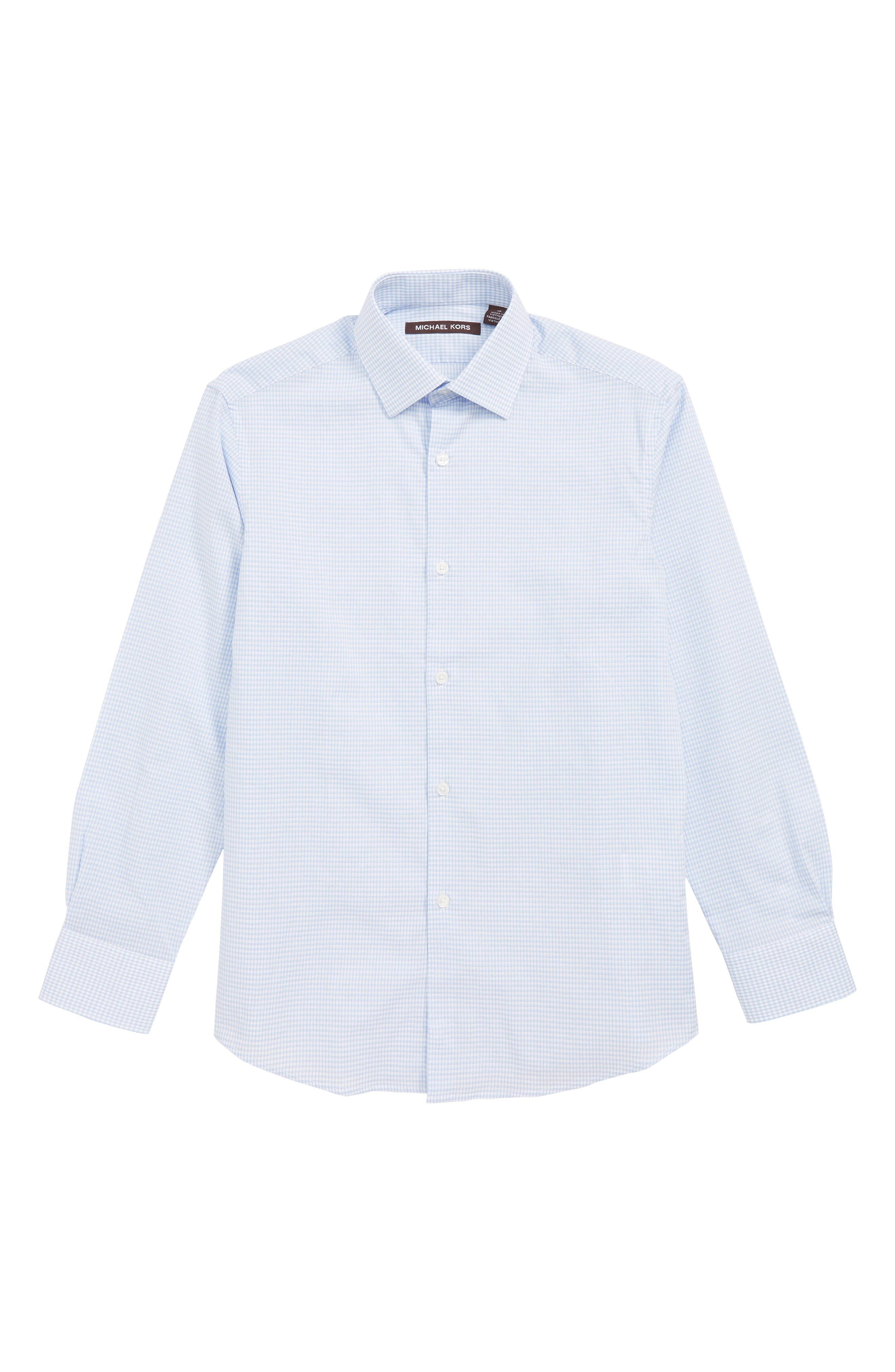 MICHAEL KORS,                             Check Dress Shirt,                             Main thumbnail 1, color,                             LIGHT BLUE