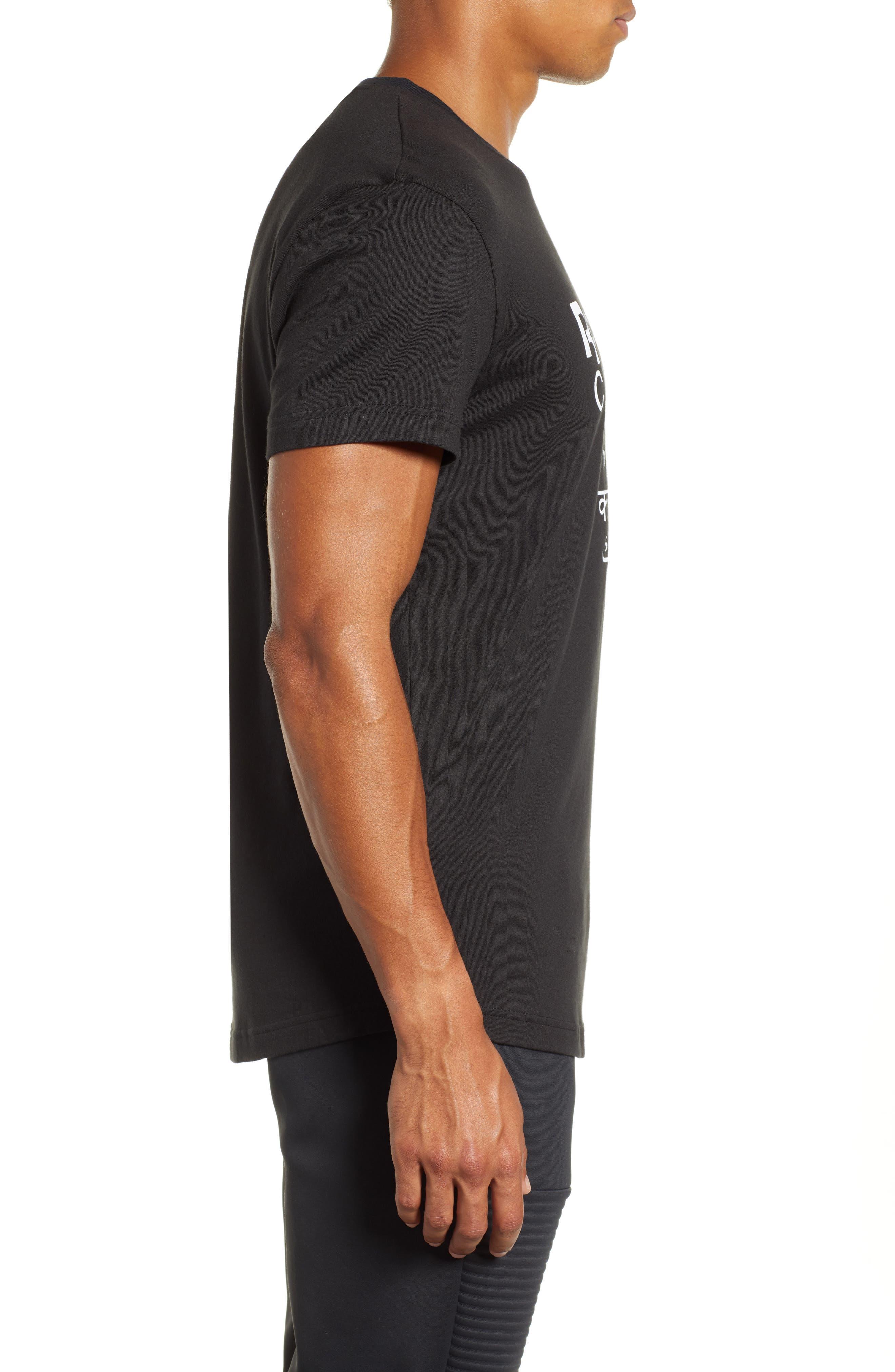 Longline Unisex T-Shirt,                             Alternate thumbnail 3, color,                             BLACK