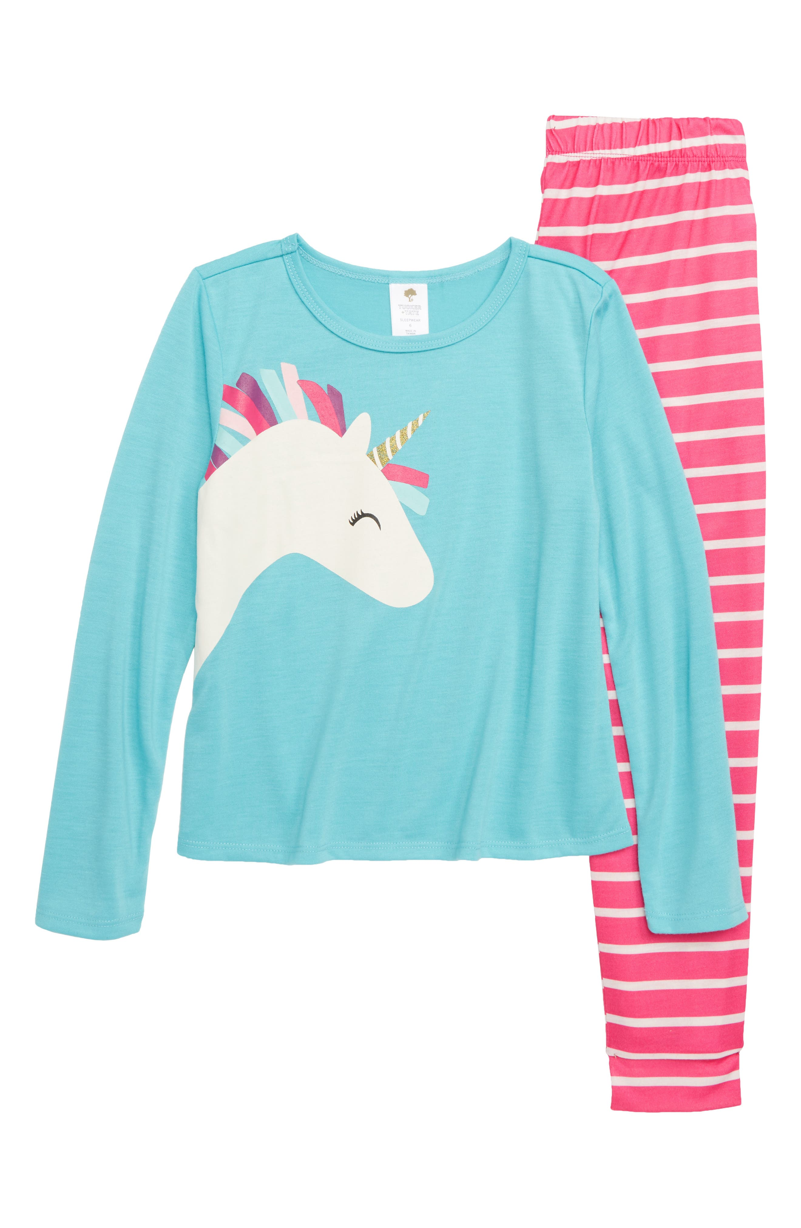 Unicorn Fitted Two-Piece Pajamas,                         Main,                         color, 660
