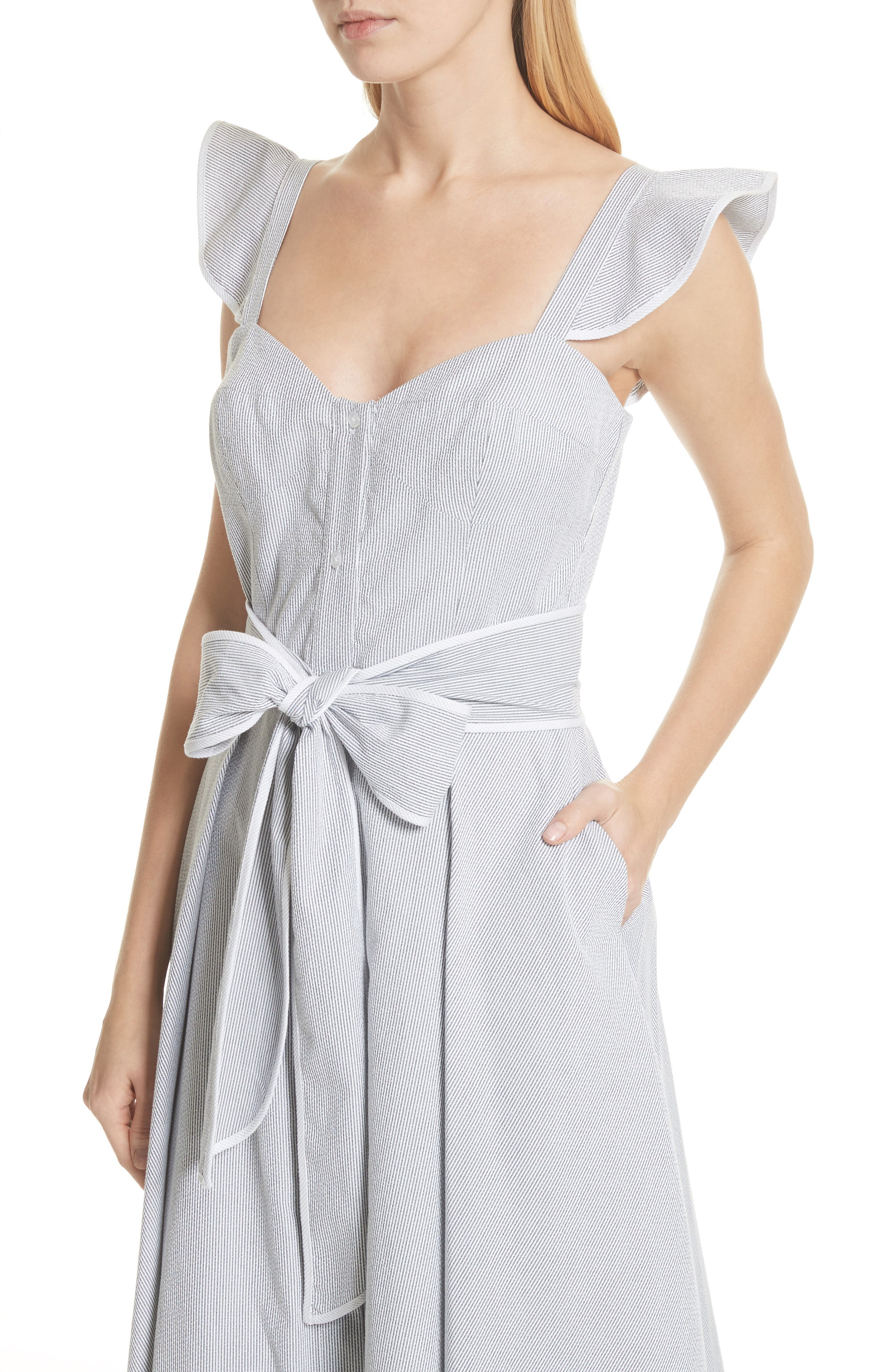 Ruffle Seersucker A-Line Dress,                             Alternate thumbnail 4, color,                             001