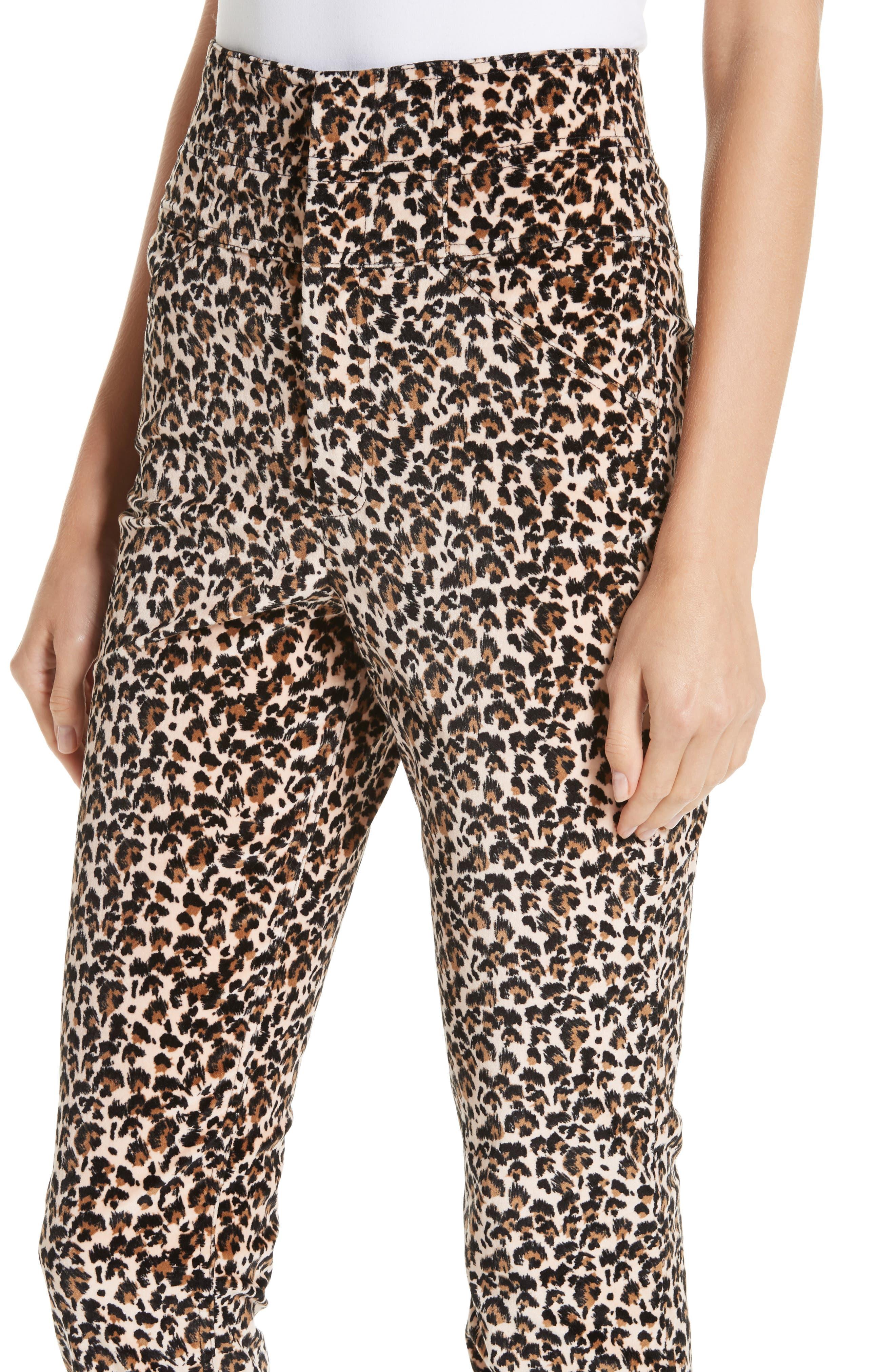 Leopard Print Stretch Velvet Pants,                             Alternate thumbnail 4, color,                             250