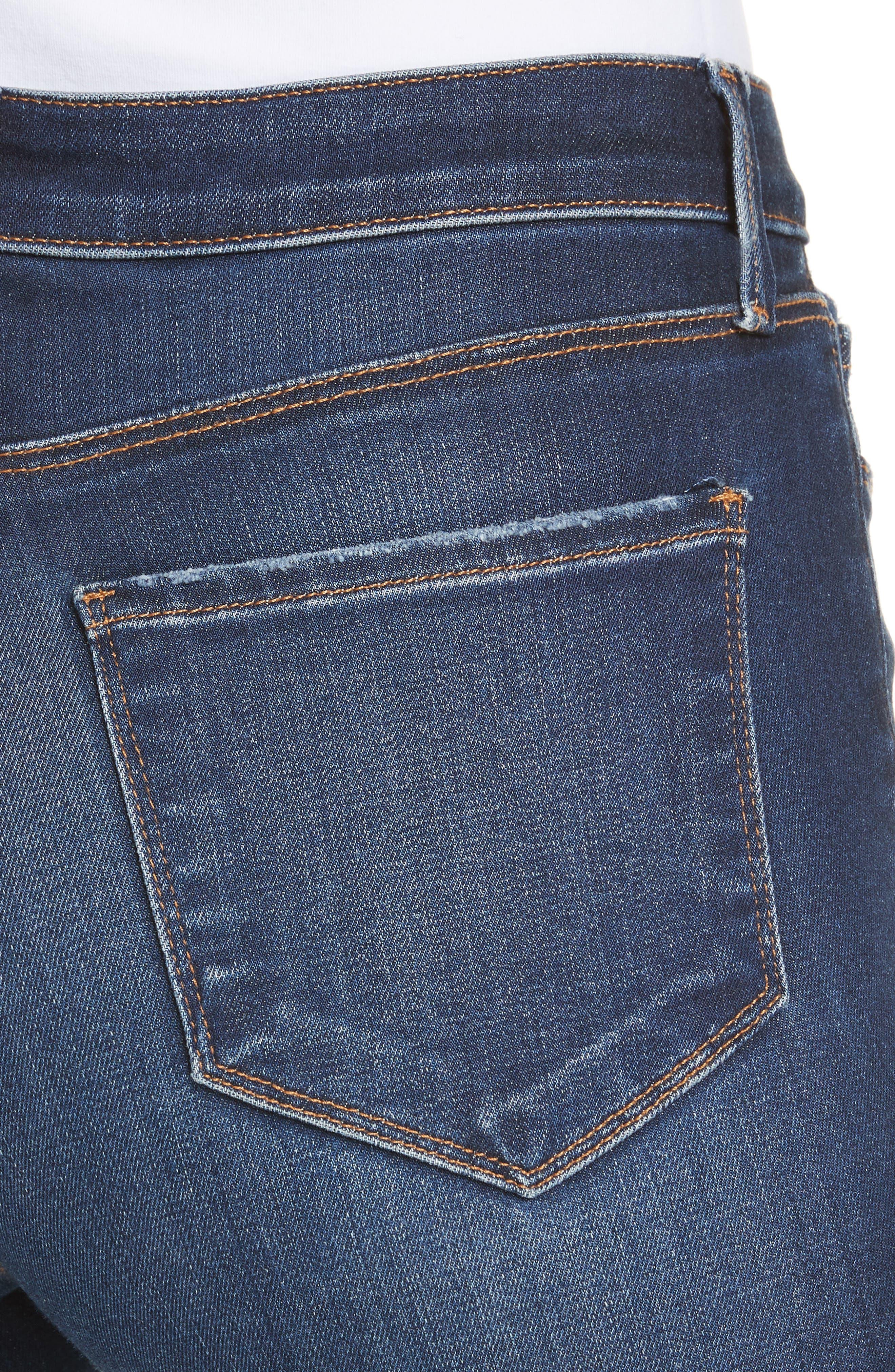 Margot Ripped Skinny Jeans,                             Alternate thumbnail 4, color,                             BALTIC DESTRUCT