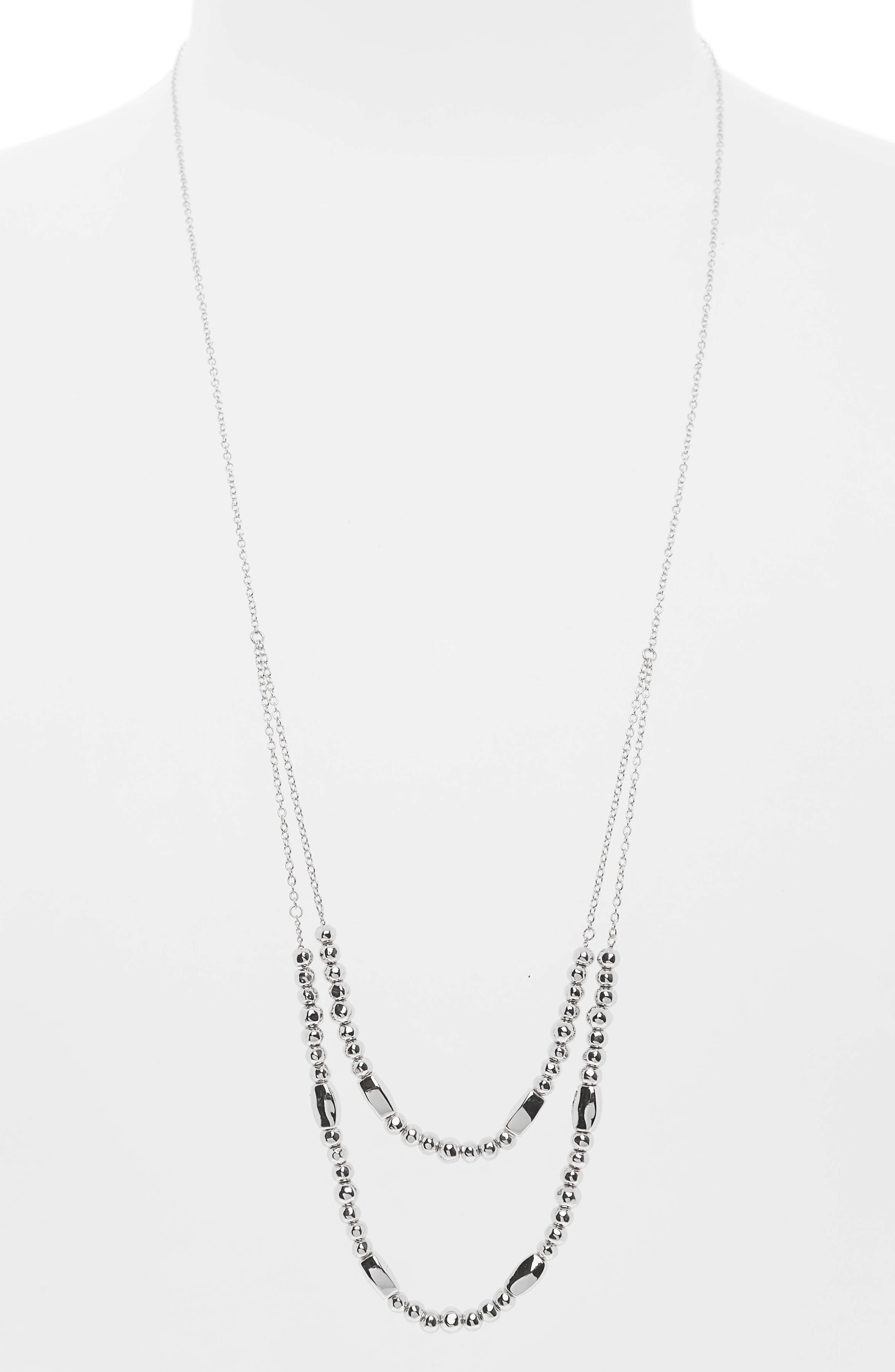 Kellen Adjustable Layer Necklace,                         Main,                         color, SILVER