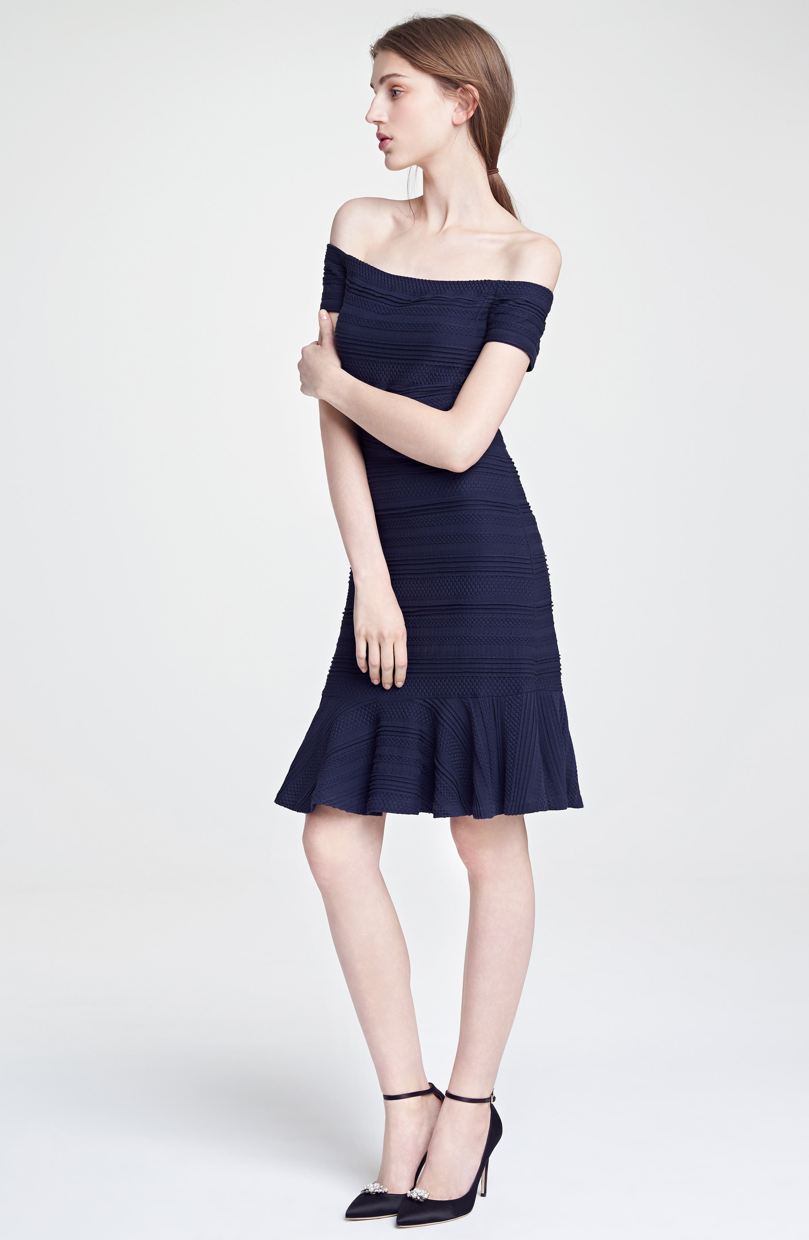 Off the Shoulder Textured Knit Dress,                             Main thumbnail 1, color,                             410