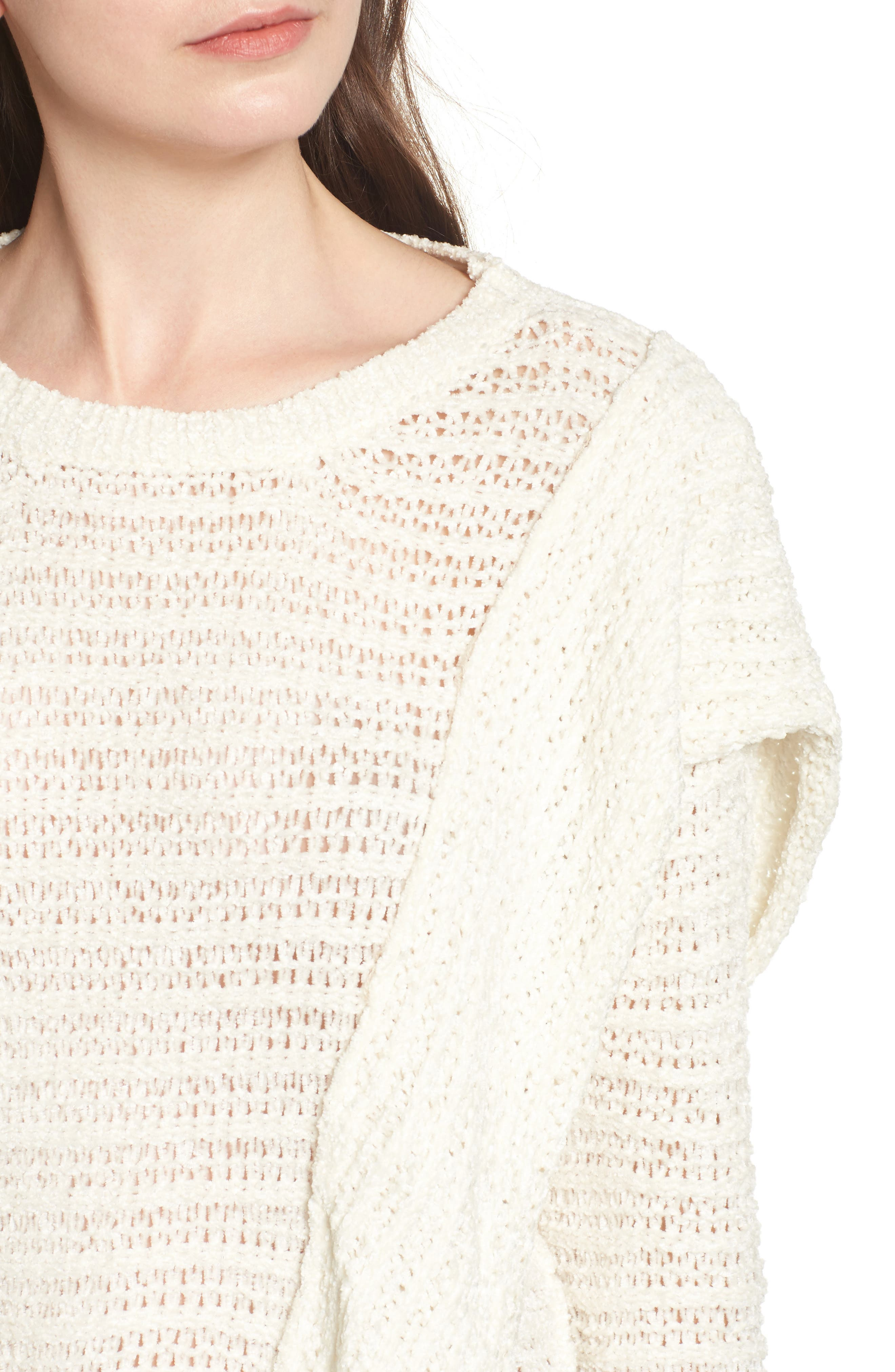 Ruffle Chenille Sweater,                             Alternate thumbnail 7, color,
