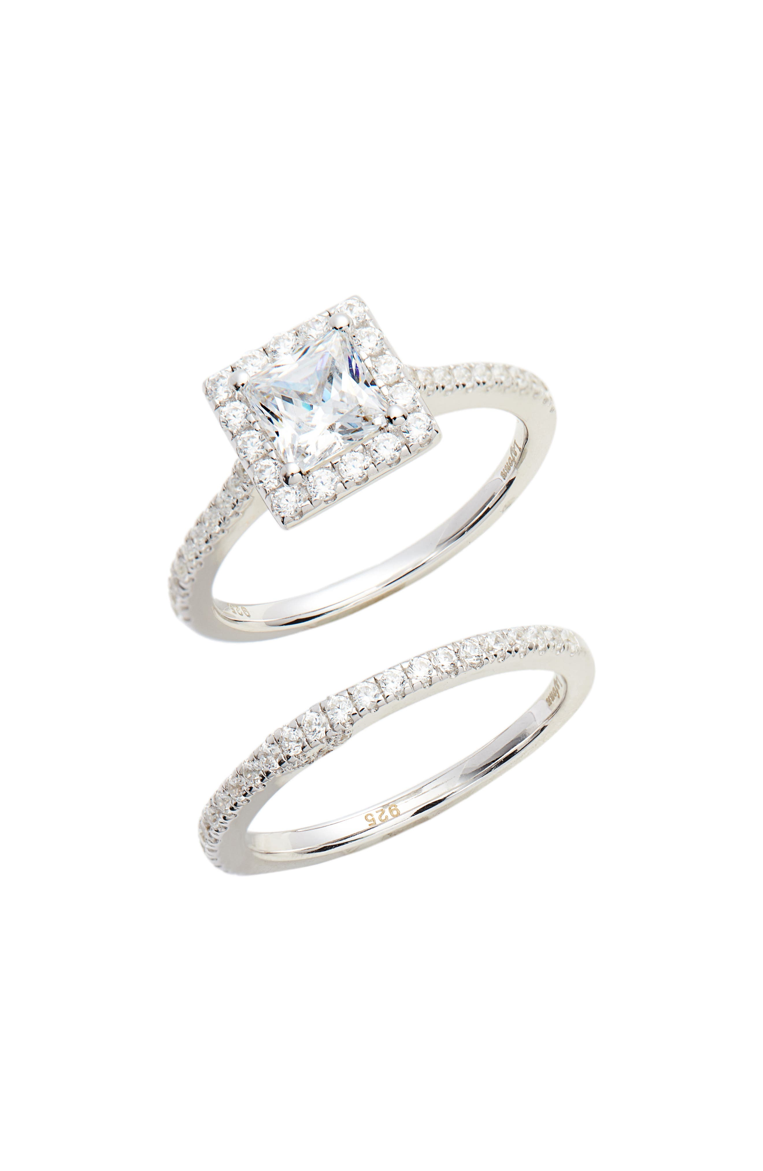 Joined at the Heart Cushion Cut Halo Wedding Ring Set,                             Main thumbnail 1, color,                             SILVER/ CLEAR