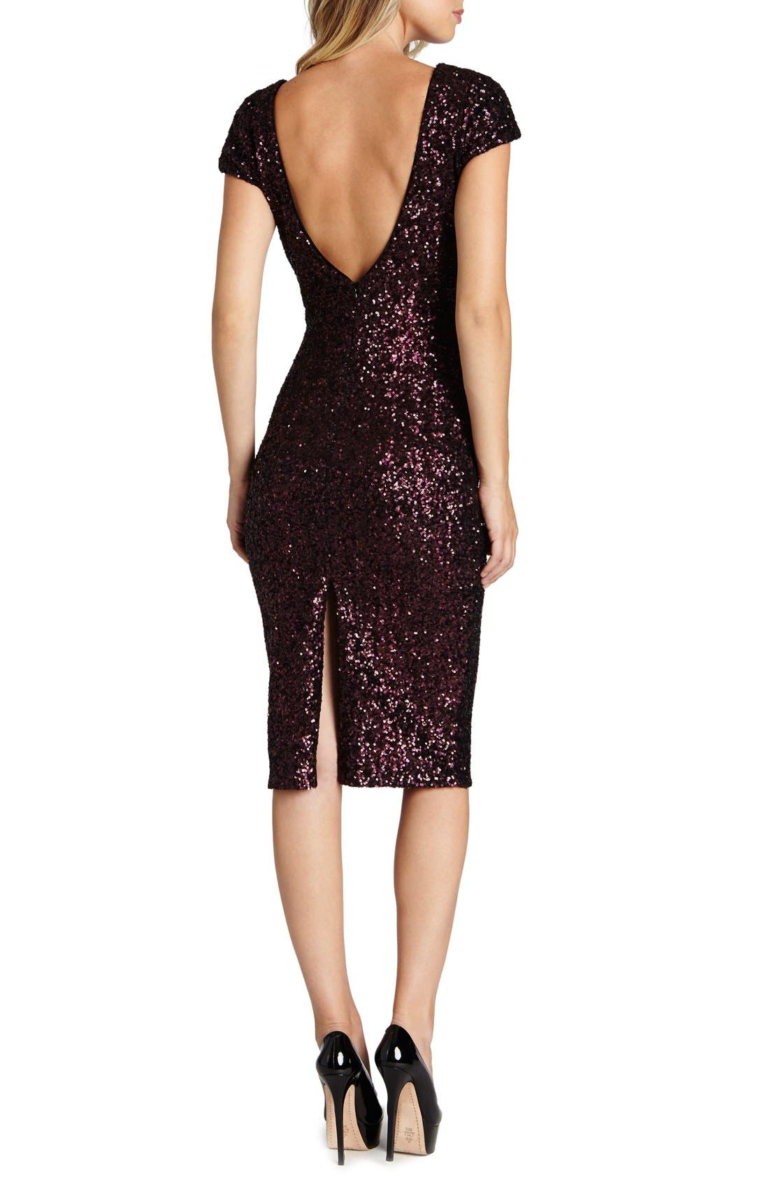 'Marcella' Open Back Sequin Body-Con Dress,                             Alternate thumbnail 8, color,