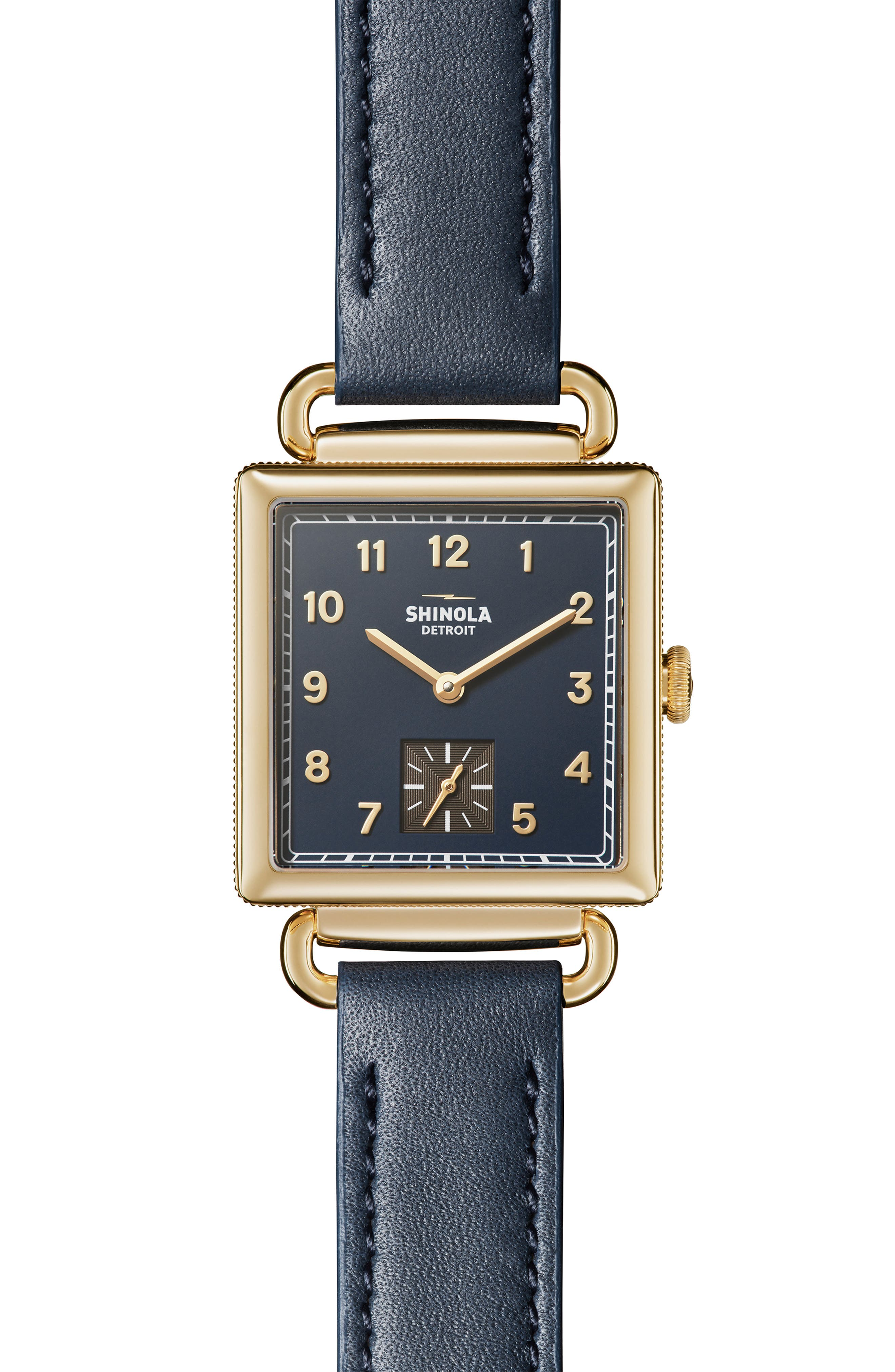 Cass Leather Strap Watch, 28mm,                             Main thumbnail 1, color,                             OCEAN/ BLUE/ GOLD