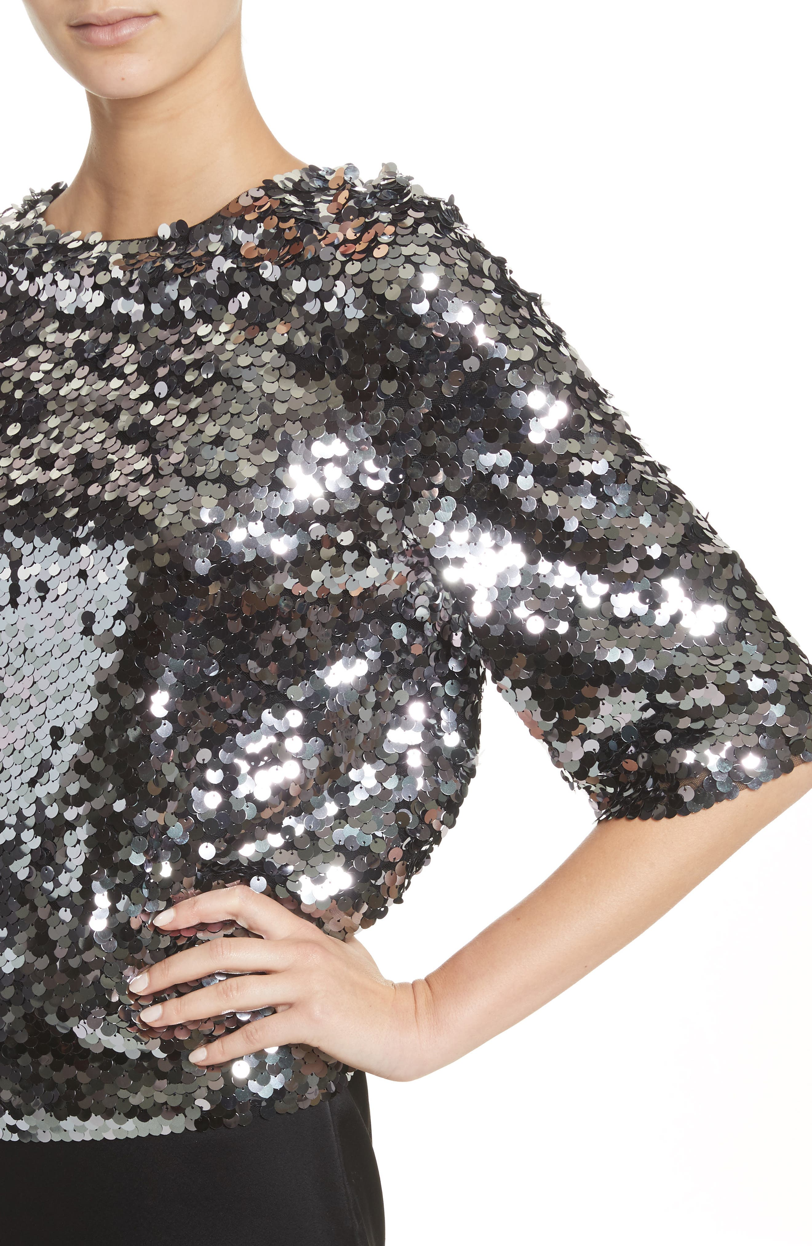 Sequin Tulle Top,                             Alternate thumbnail 4, color,