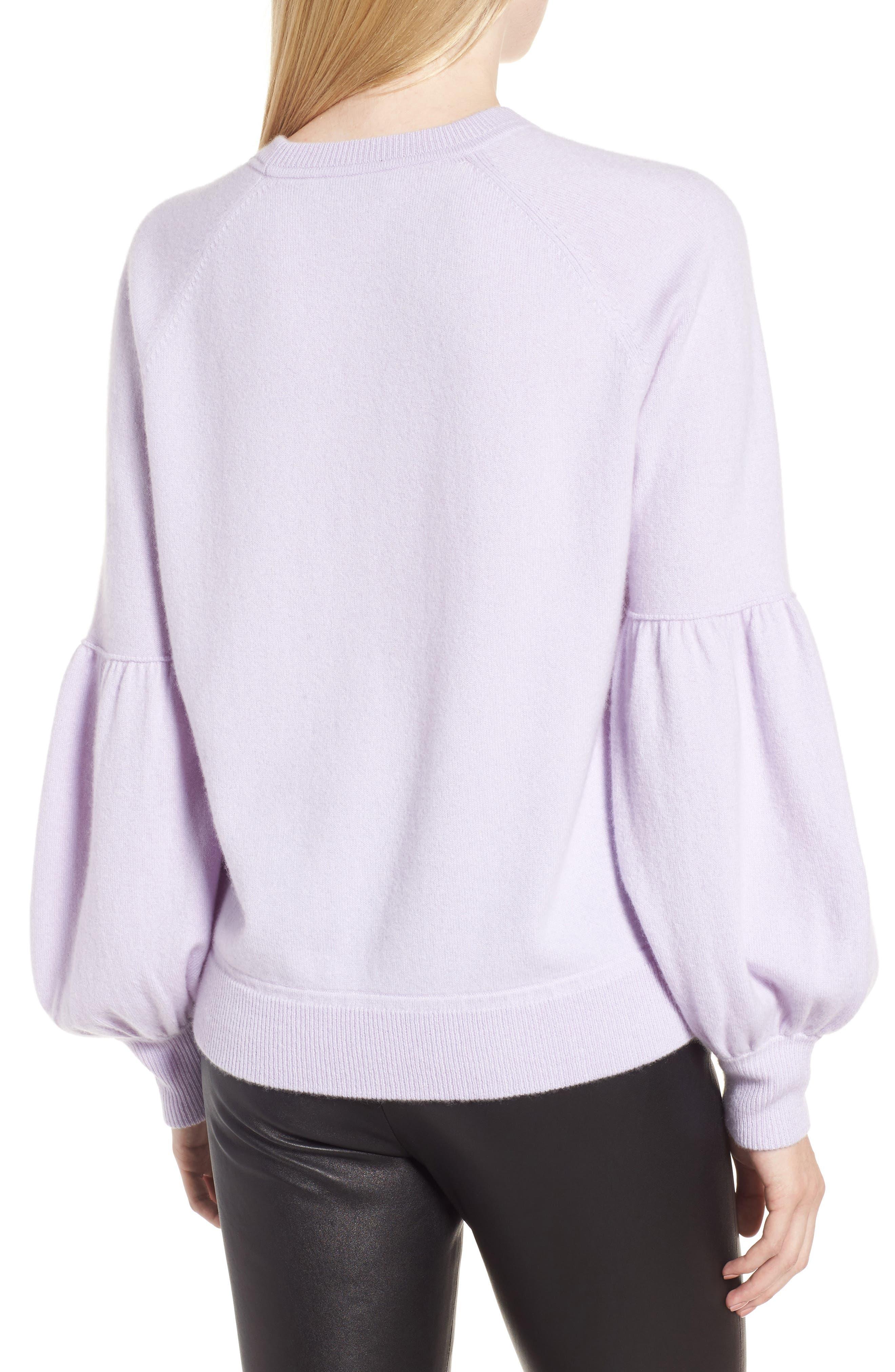 Blouson Sleeve Cashmere Blend Sweater,                             Alternate thumbnail 2, color,